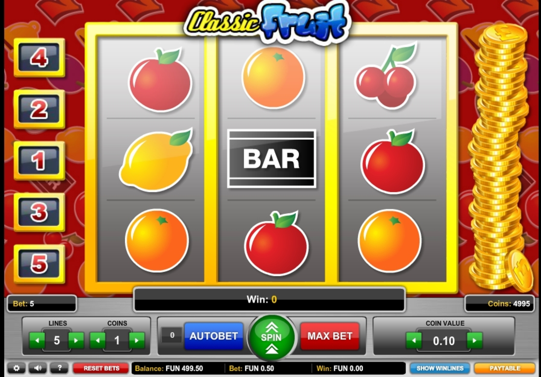 Reels in Classic Fruit Slot Game by 1x2 Gaming