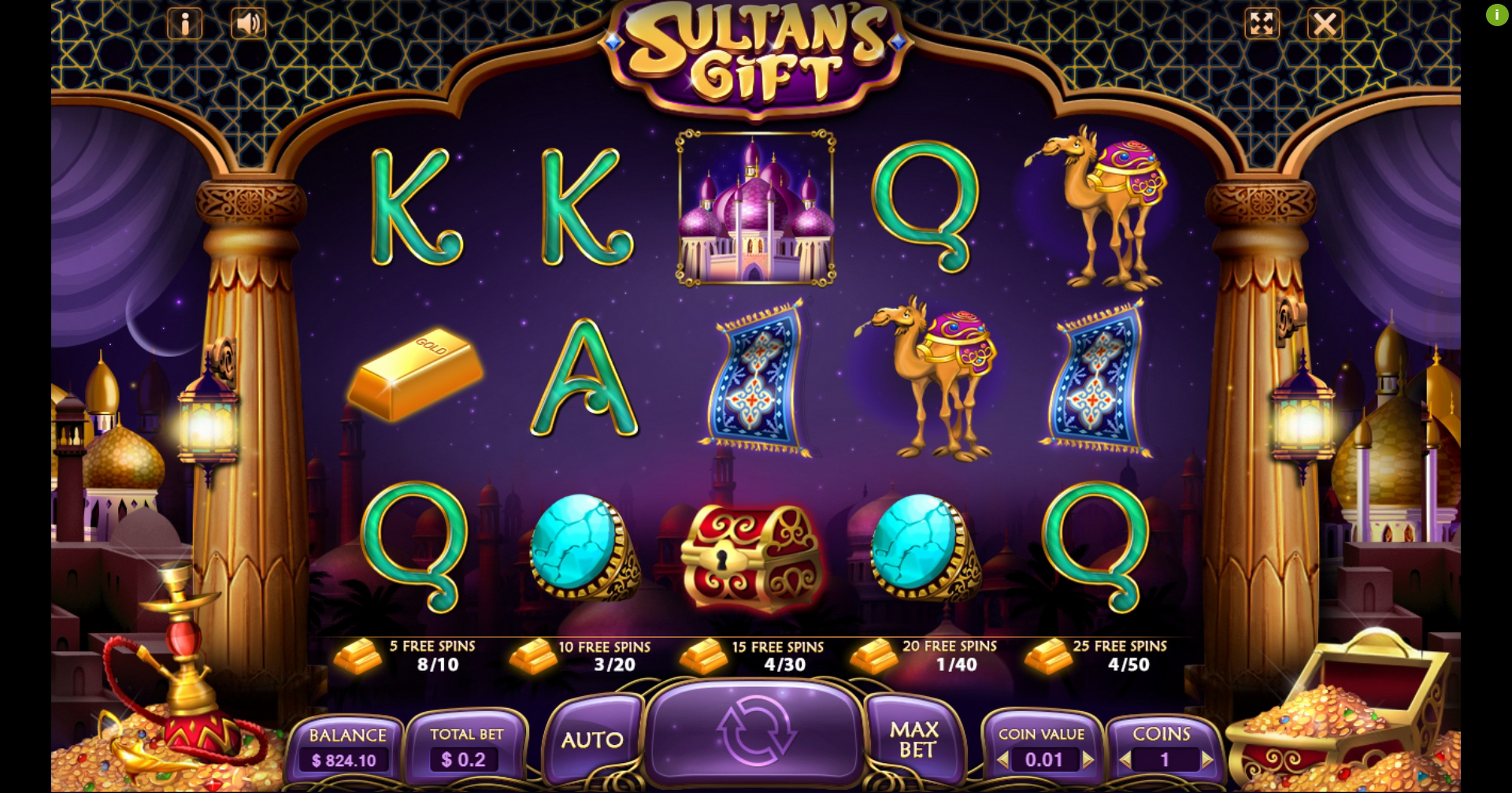 Reels in Sultan's Gift Slot Game by Charismatic