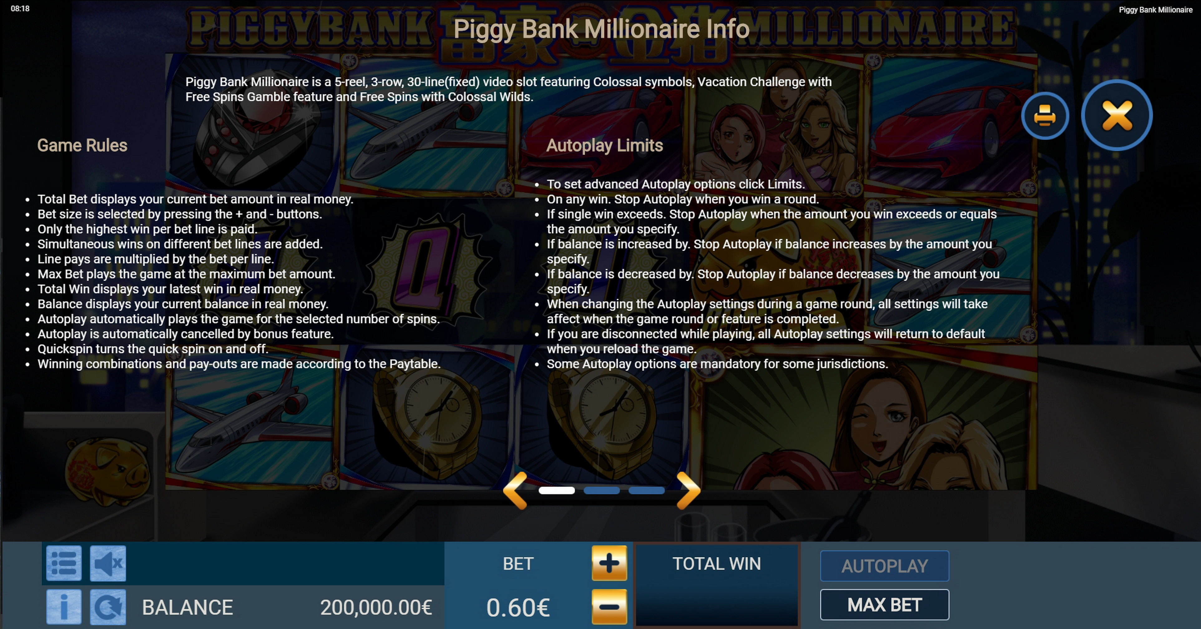 Info of Piggy Bank Millionaire Slot Game by Gamatron