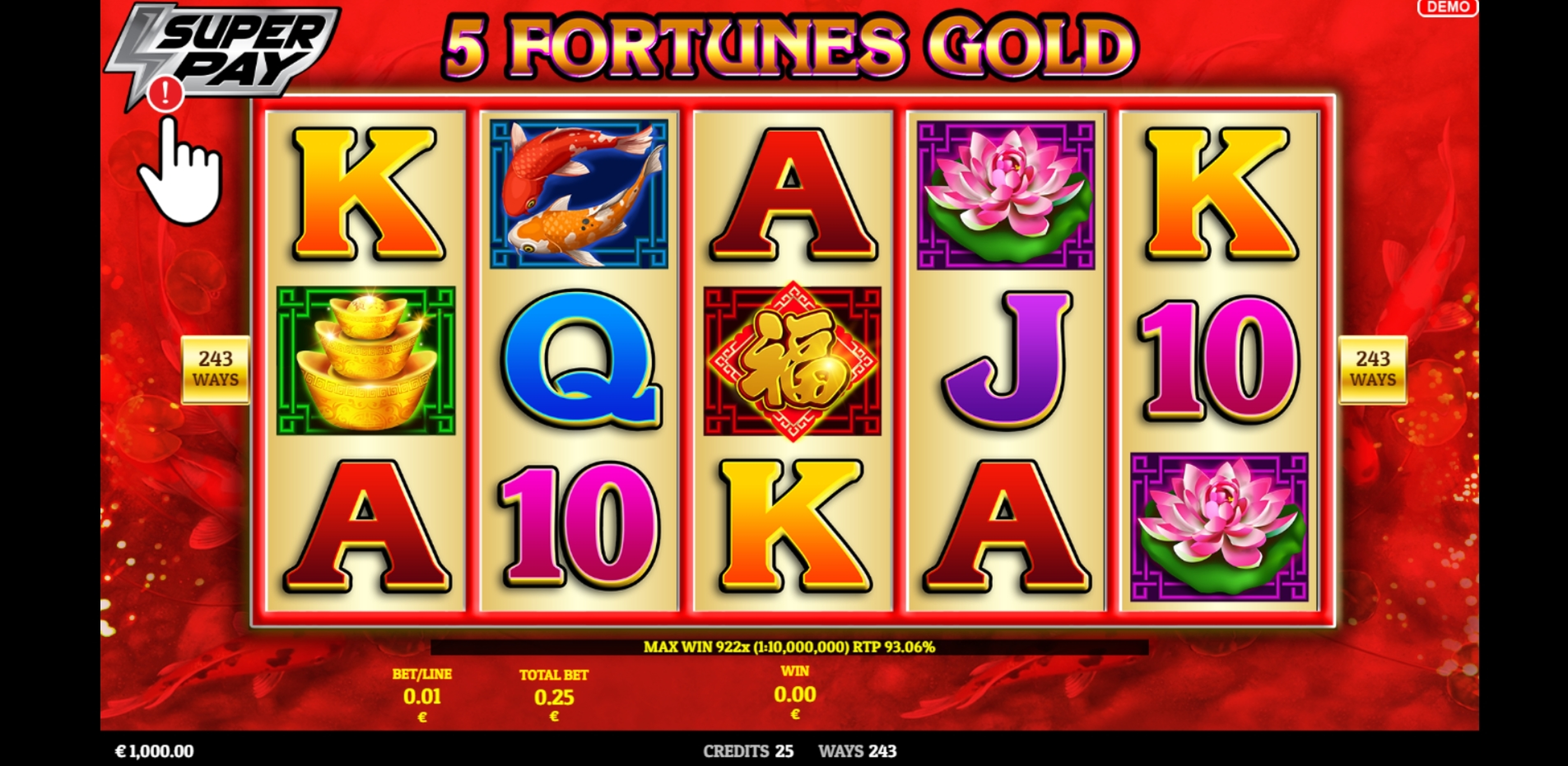 Reels in 5 Fortunes Gold Slot Game by Givme Games