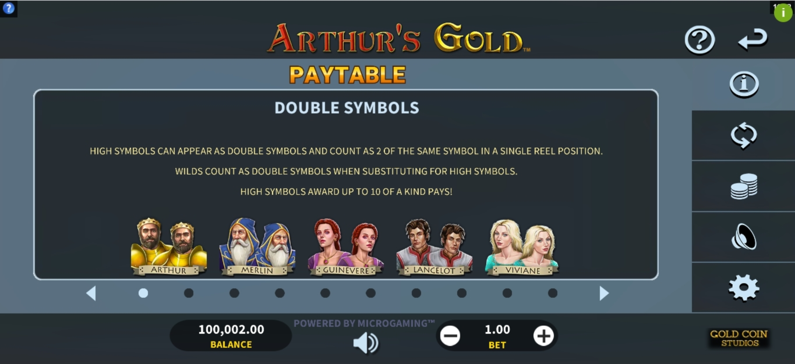 Info of Arthurs Gold Slot Game by Gold Coin Studios