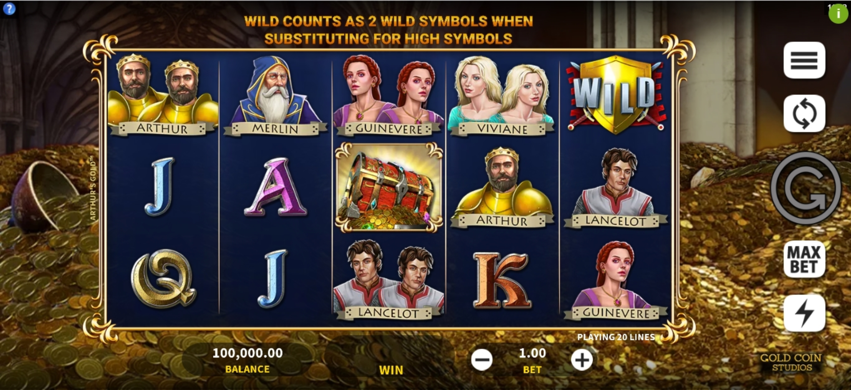 Reels in Arthurs Gold Slot Game by Gold Coin Studios