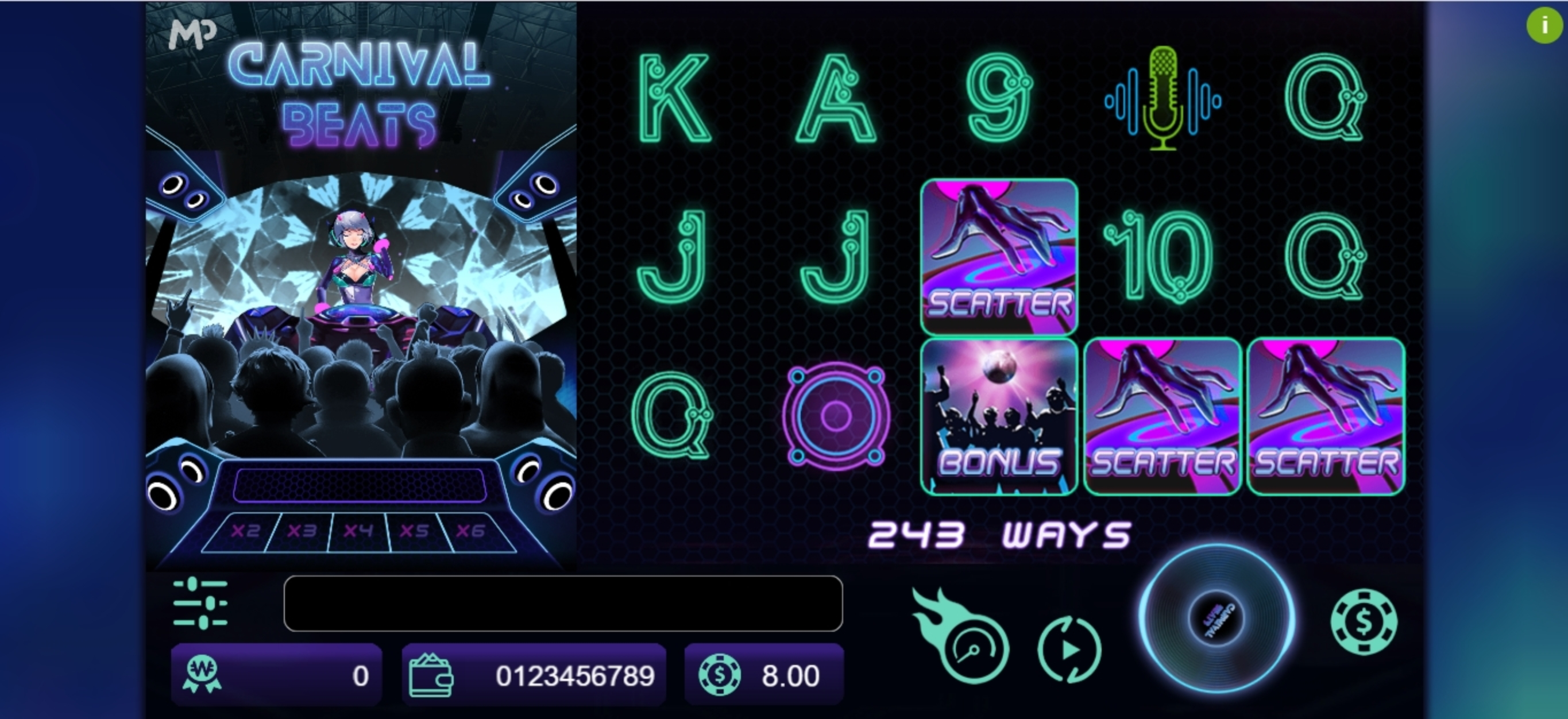 Reels in Carnival Beats Slot Game by Manna Play