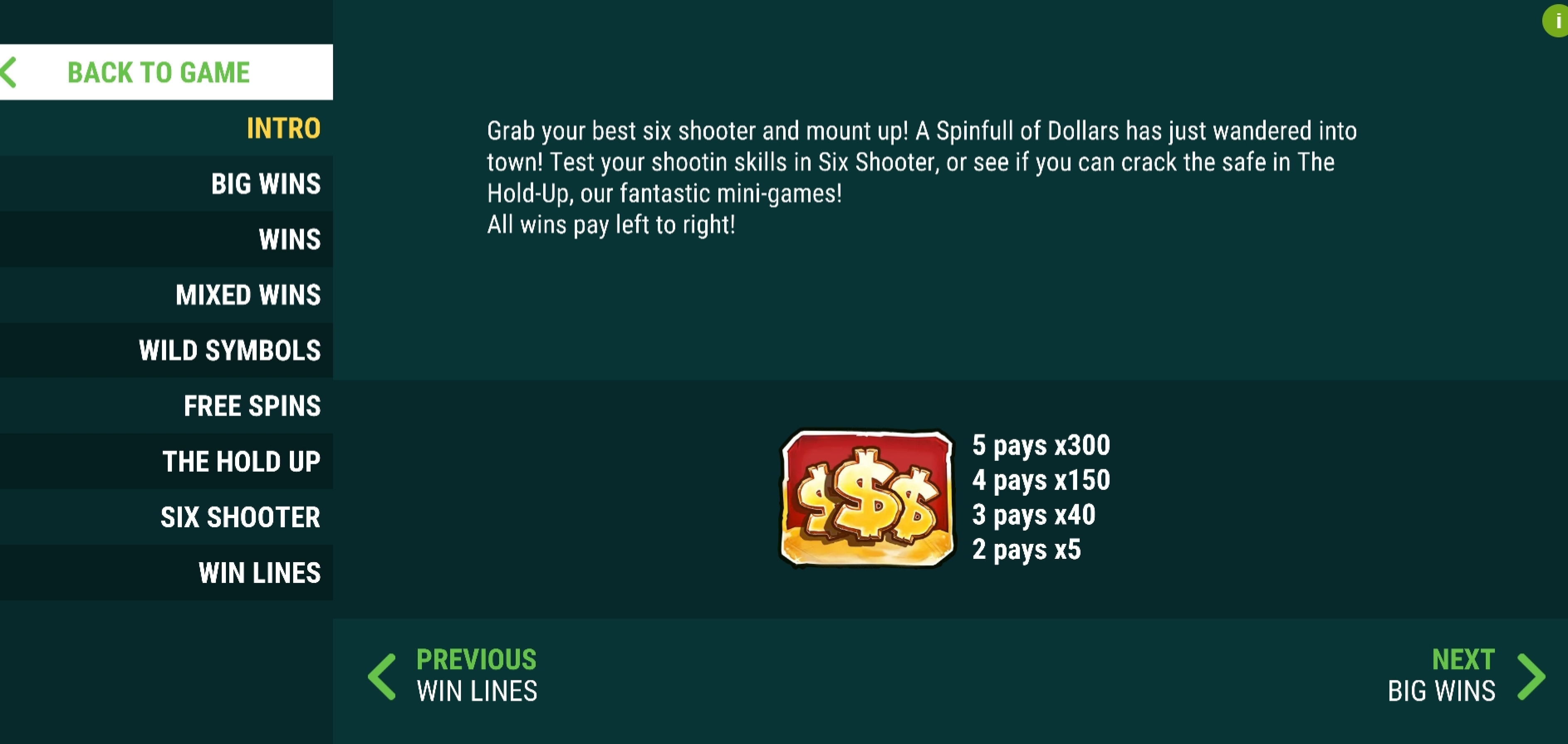 Info of A Spinfull of Dollars Slot Game by Slot Factory