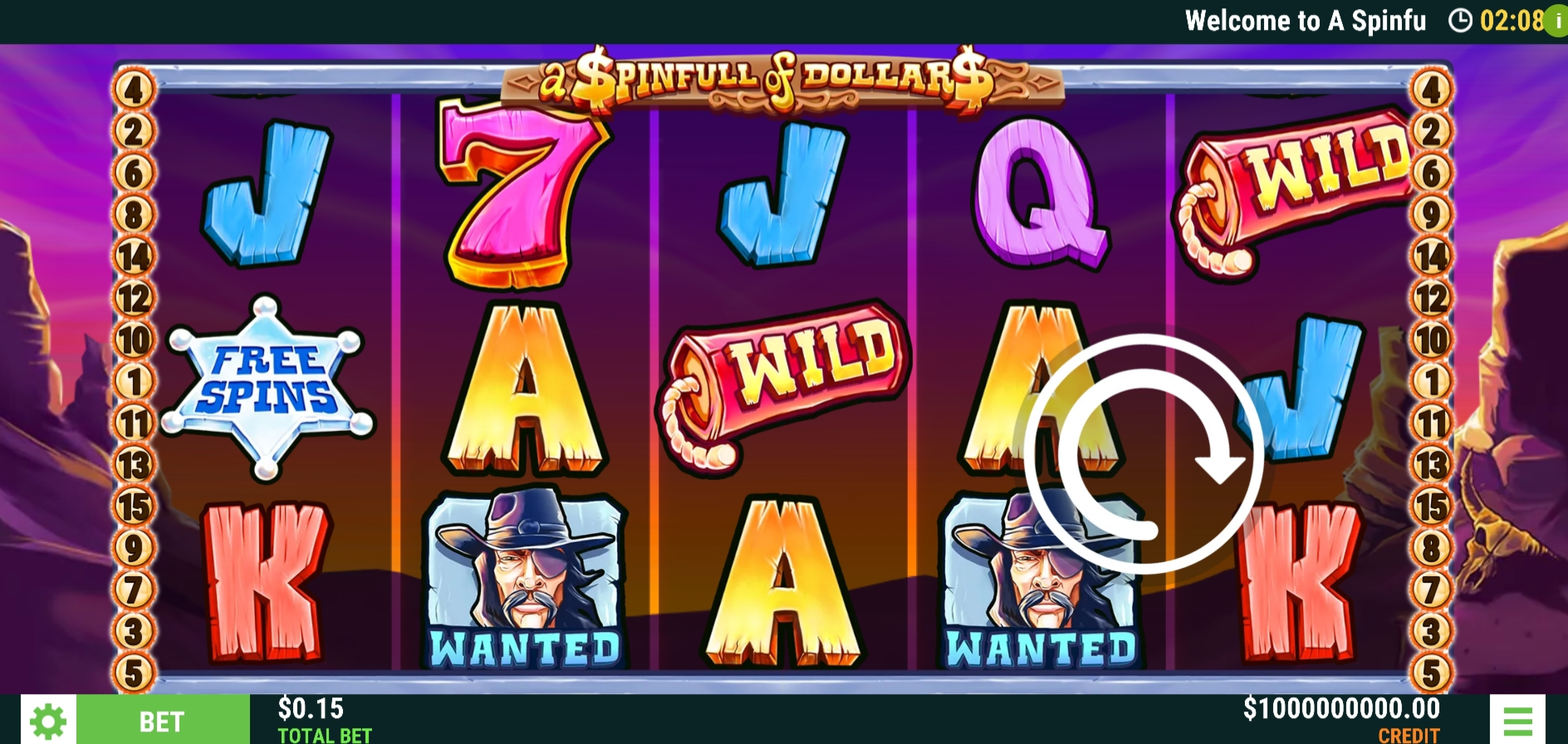Reels in A Spinfull of Dollars Slot Game by Slot Factory