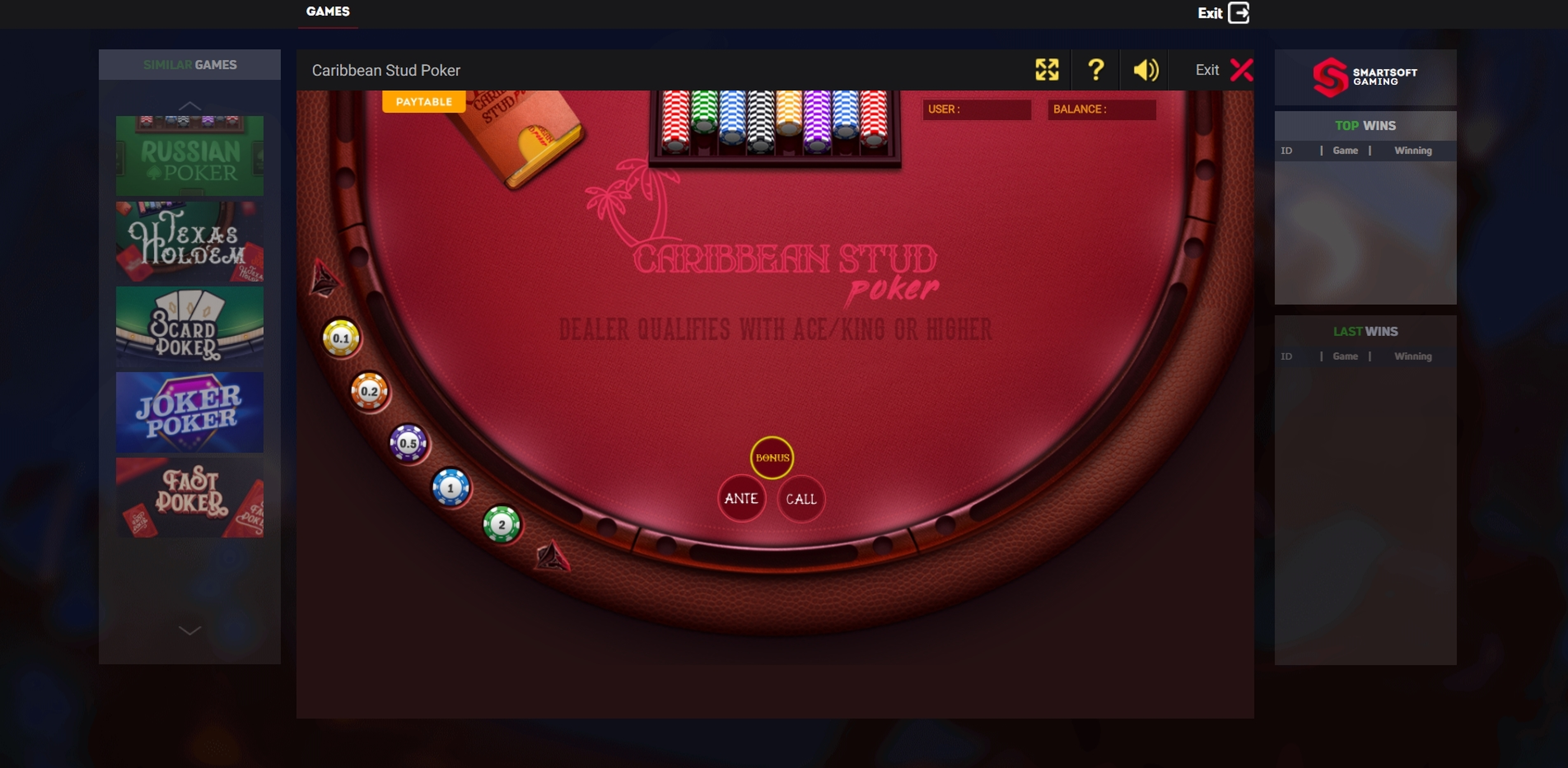 Reels in Caribbean Poker Slot Game by Smartsoft Gaming