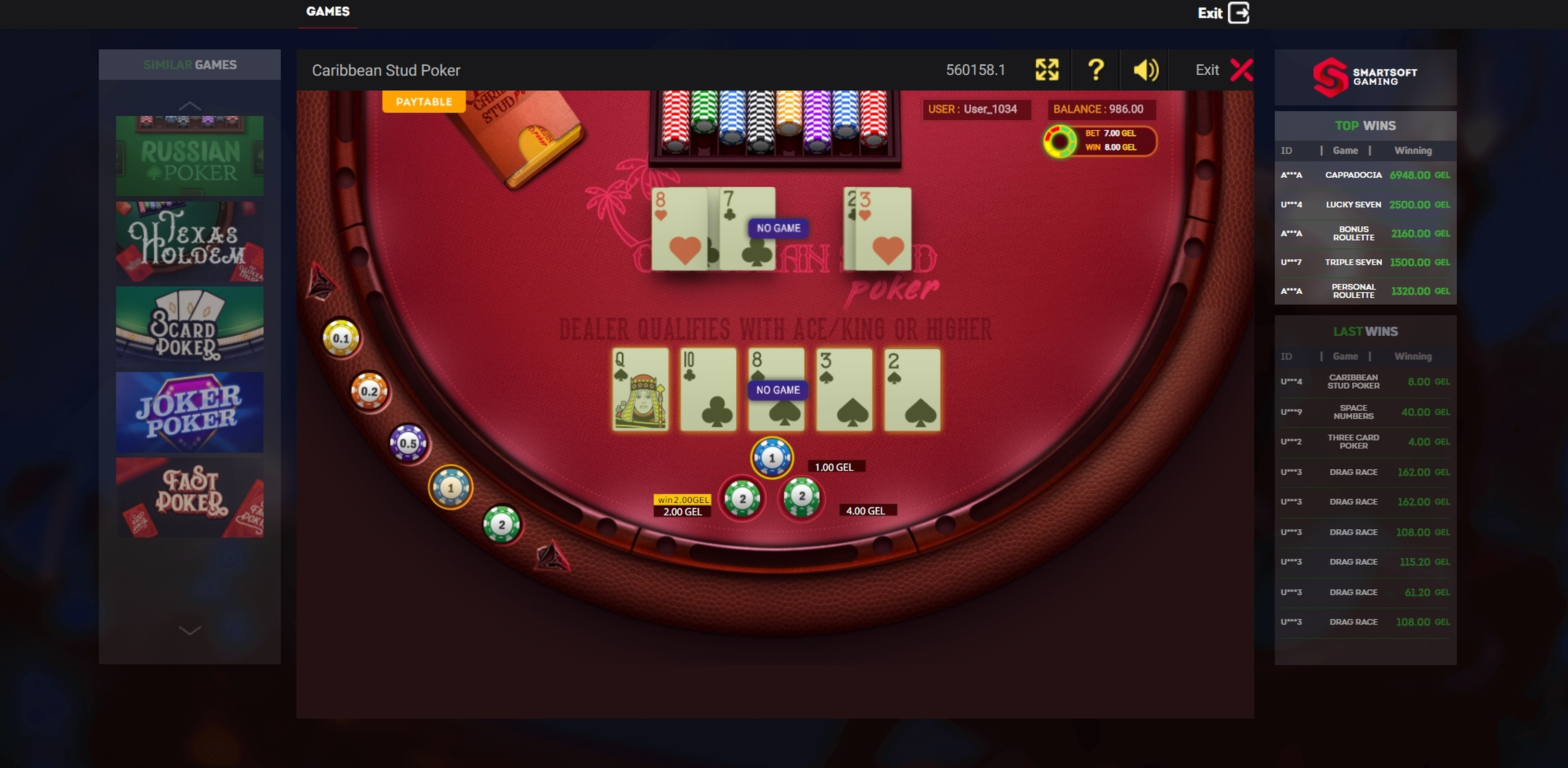 Win Money in Caribbean Poker Free Slot Game by Smartsoft Gaming