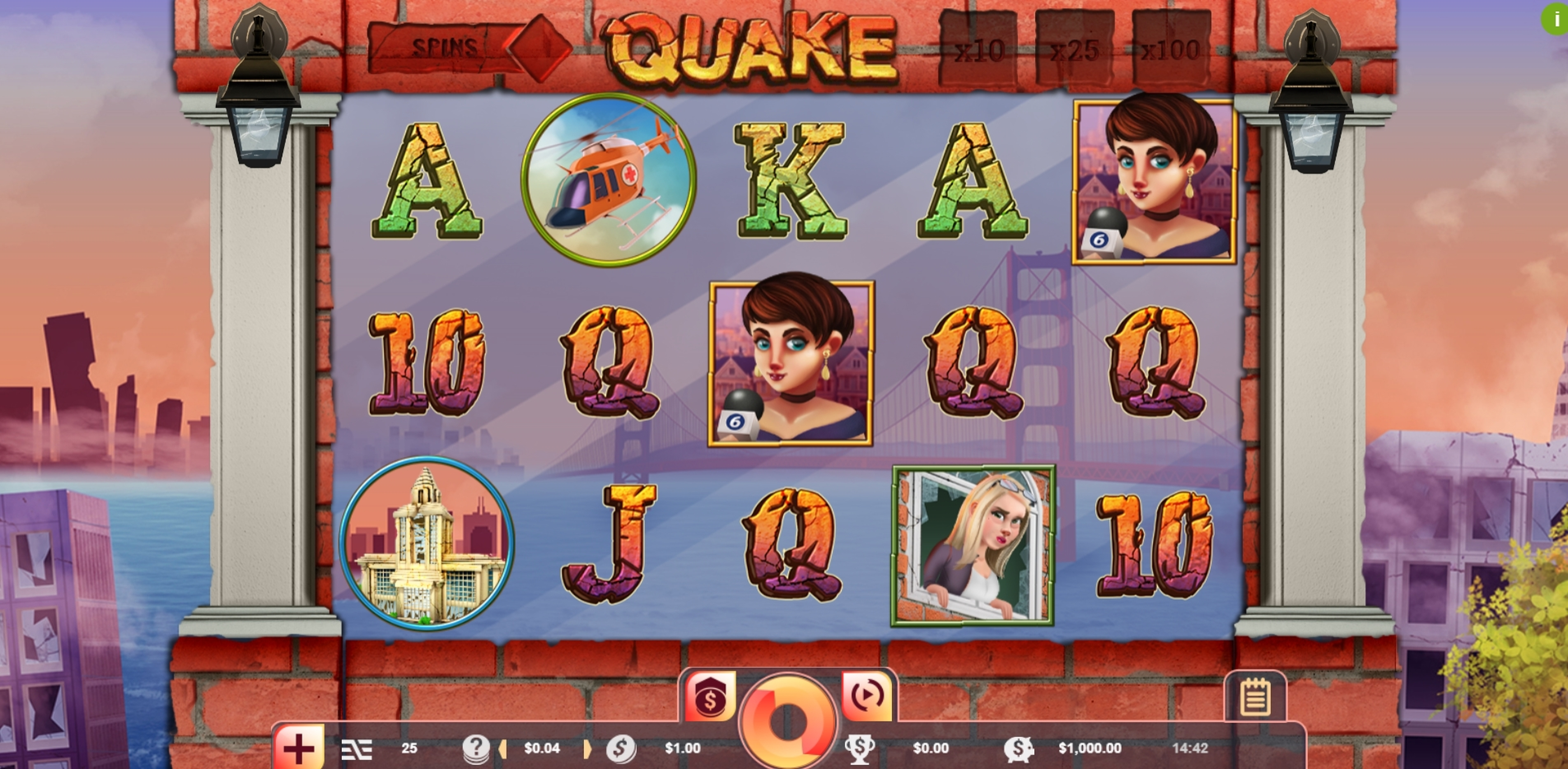 Reels in Quake Slot Game by Vibra Gaming