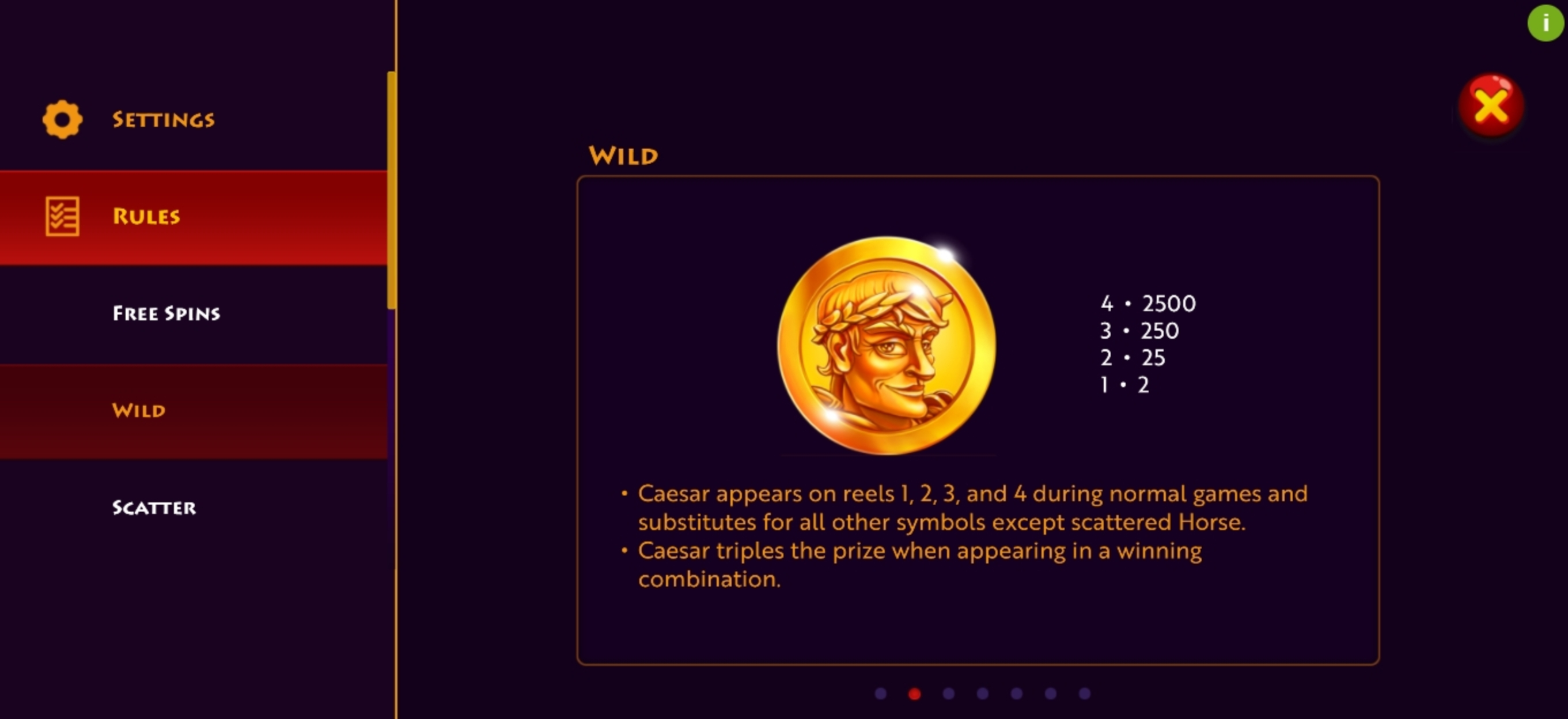 Info of Caesar's Conquest Slot Game by Woohoo