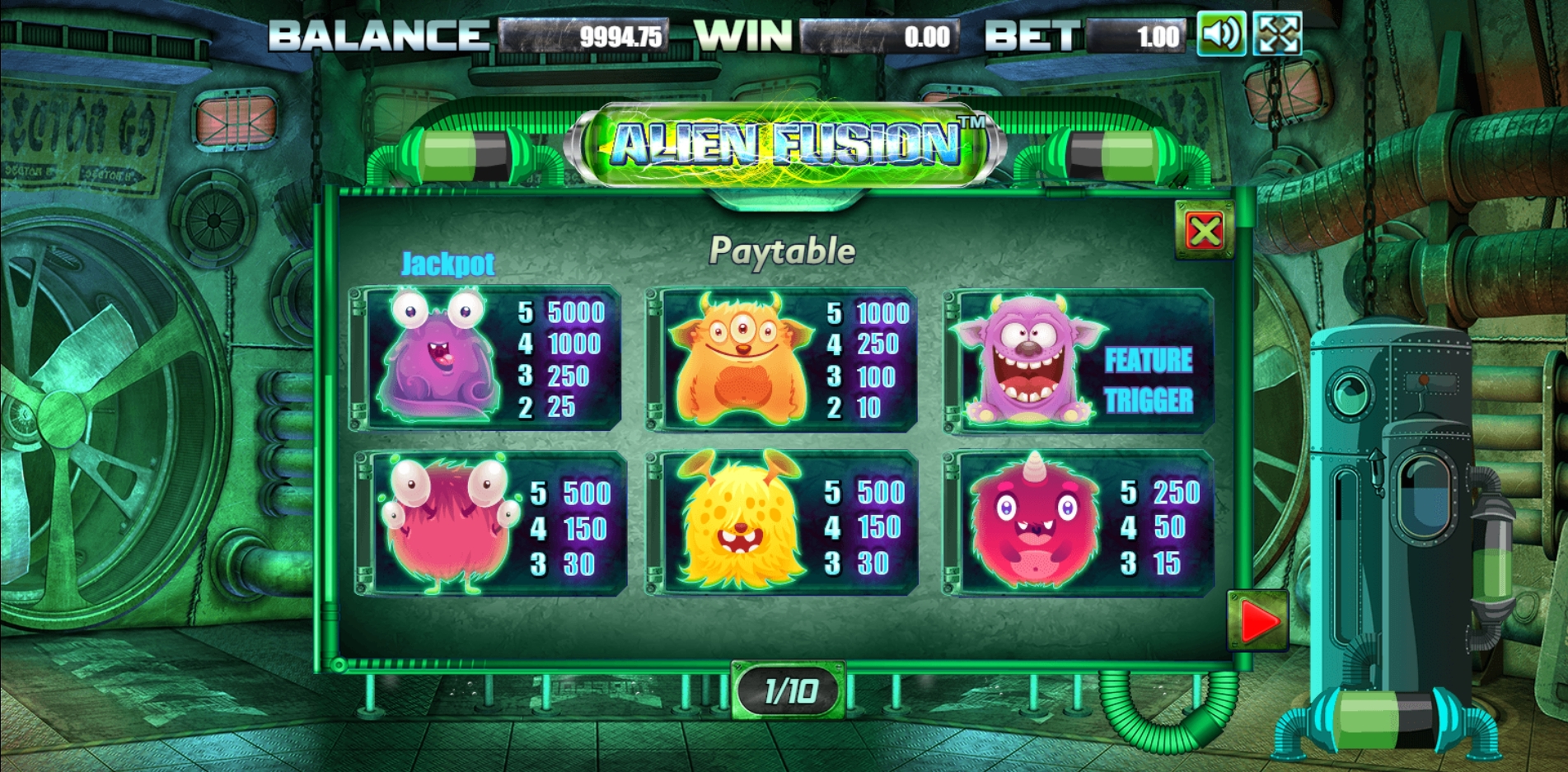 Info of Alien Fusion Slot Game by Allbet Gaming