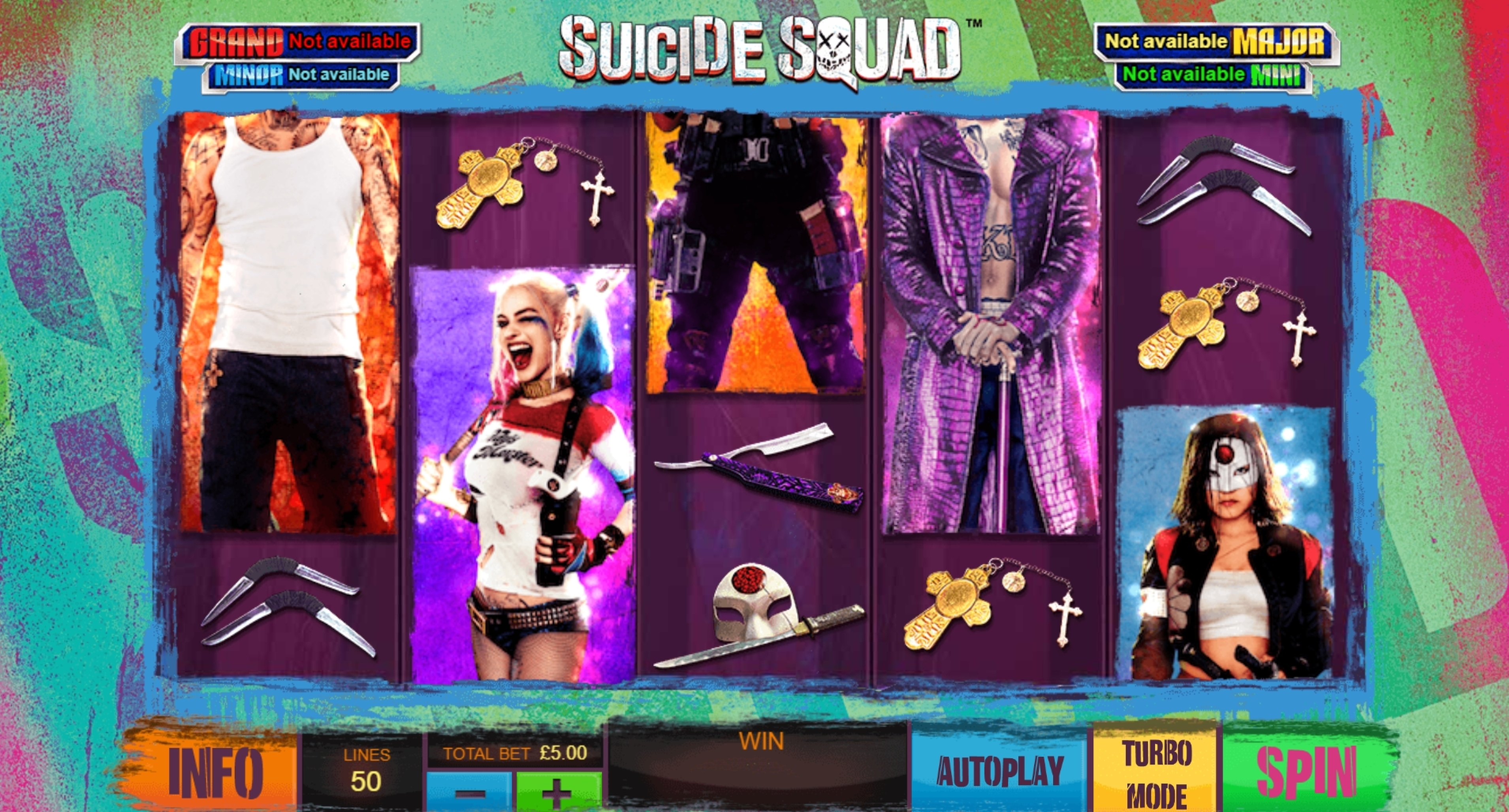 Reels in Suicide Squad Slot Game by Ash Gaming