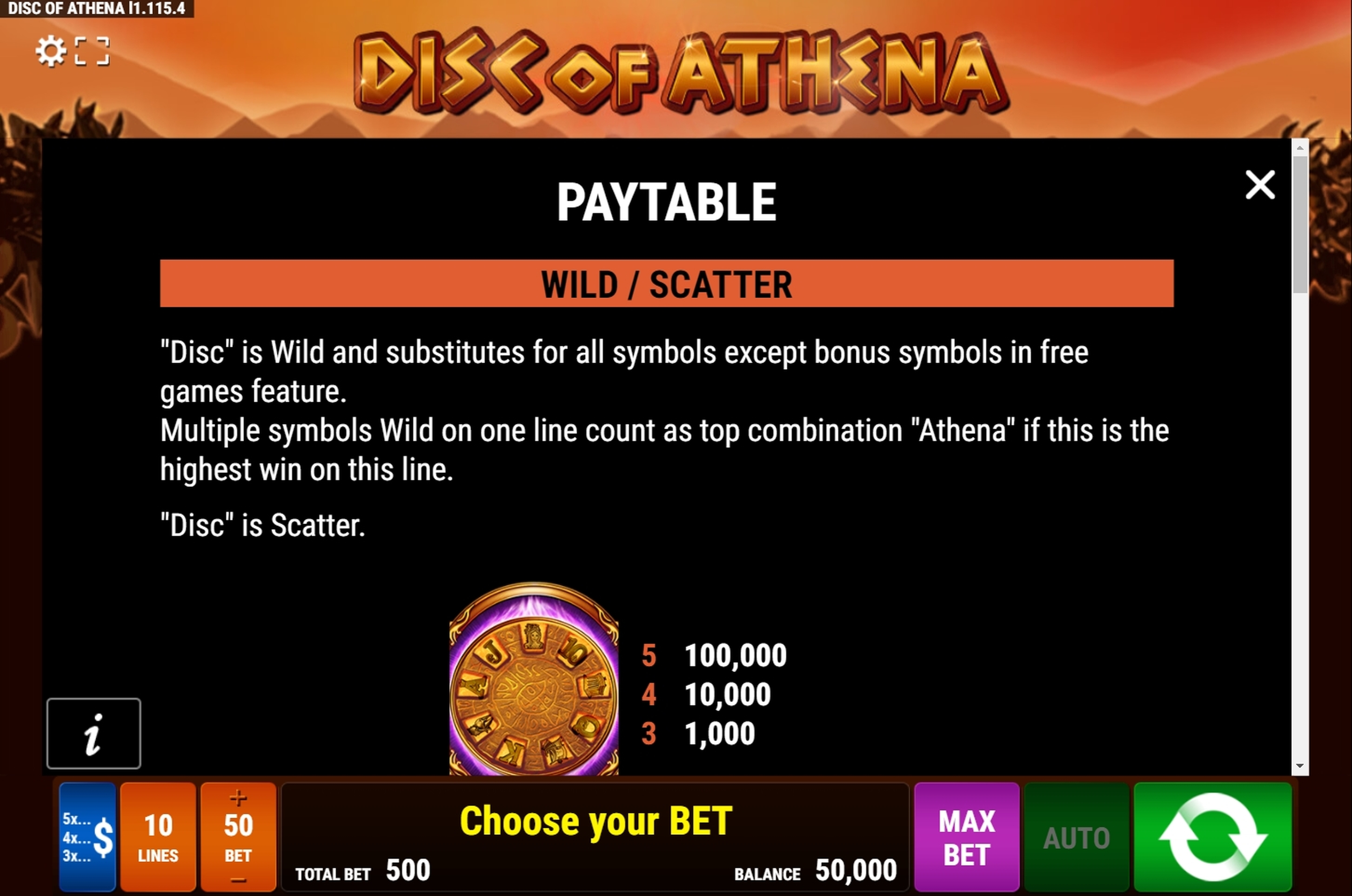Info of Disc of Athena Slot Game by Bally Wulff