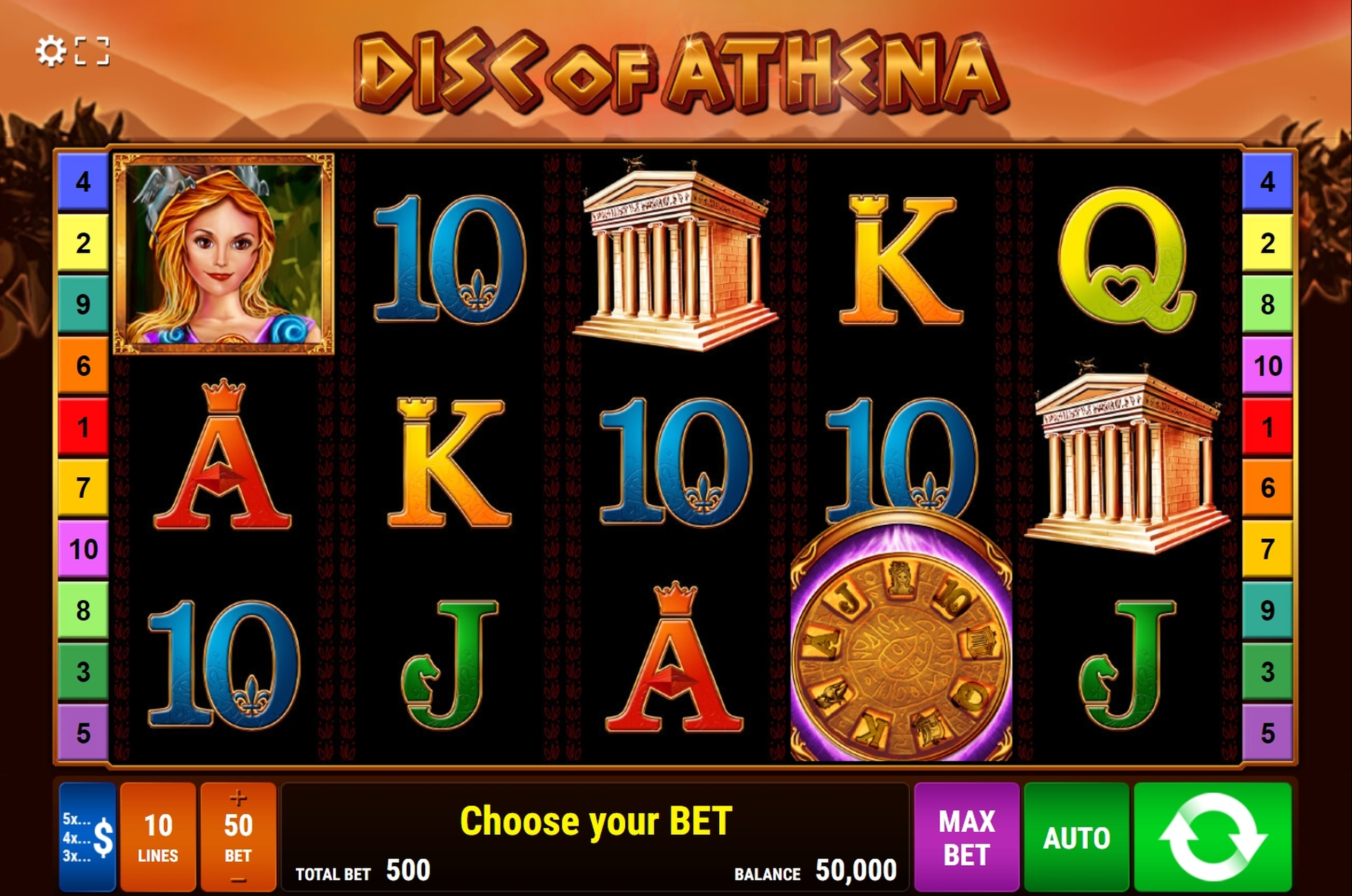 Reels in Disc of Athena Slot Game by Bally Wulff