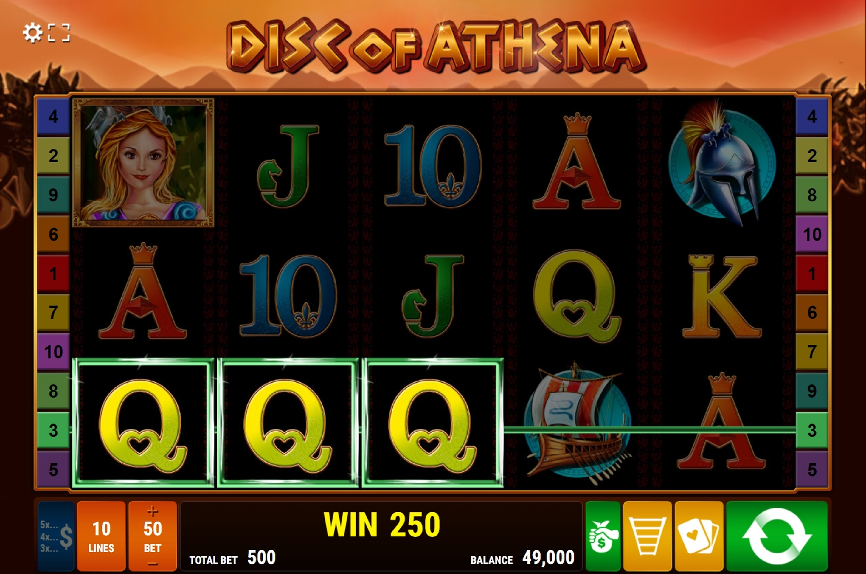 Win Money in Disc of Athena Free Slot Game by Bally Wulff