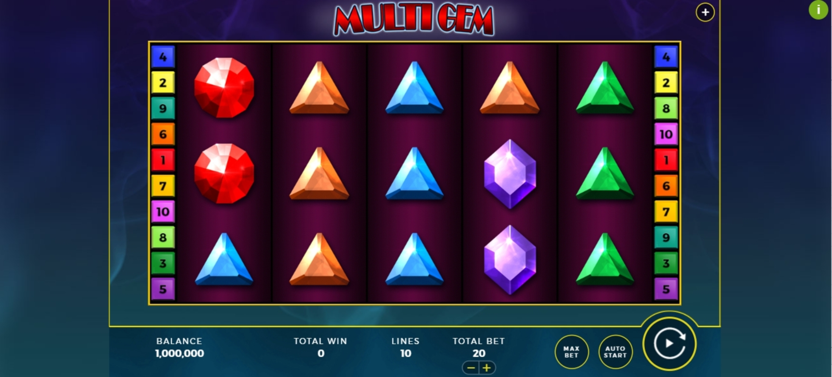 Reels in Multi Gem Slot Game by Bally Wulff