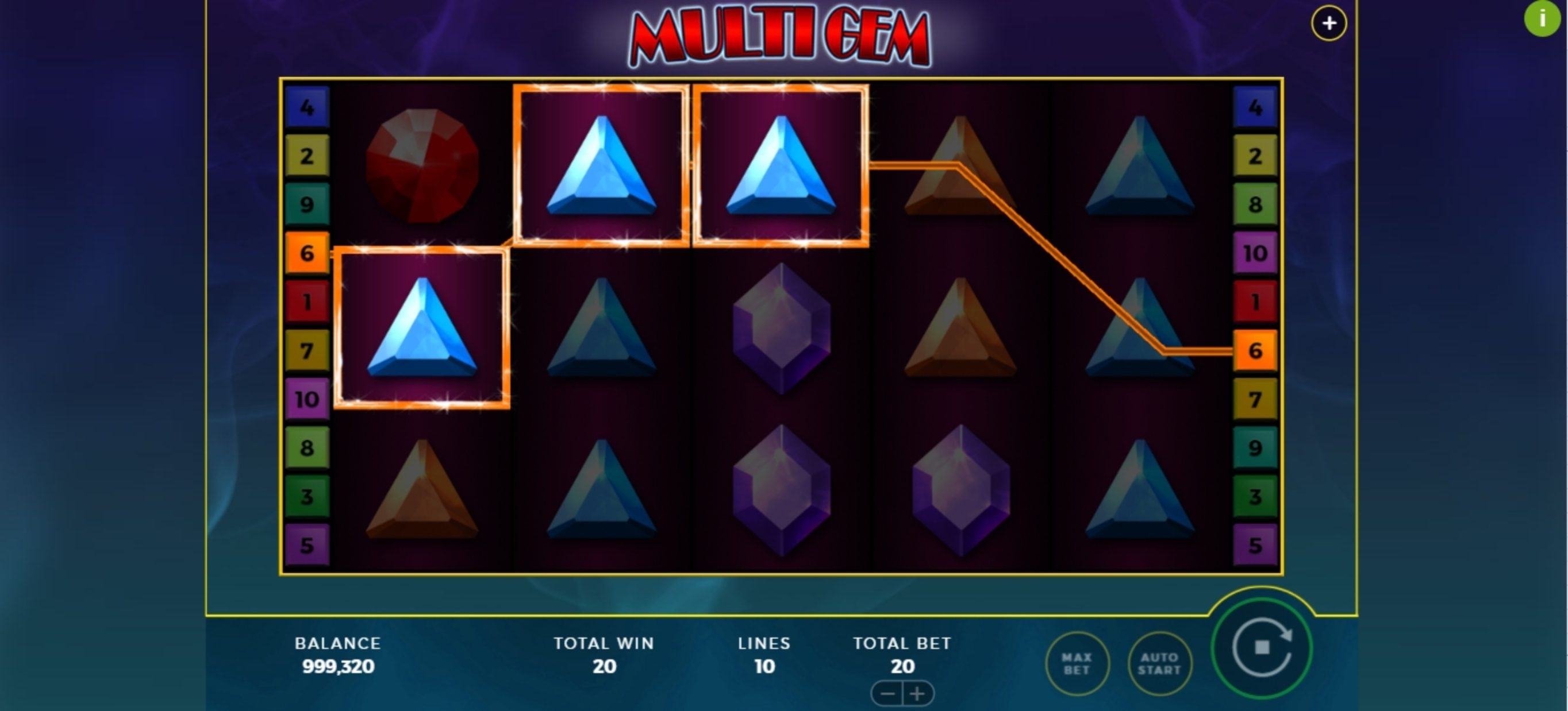 Win Money in Multi Gem Free Slot Game by Bally Wulff