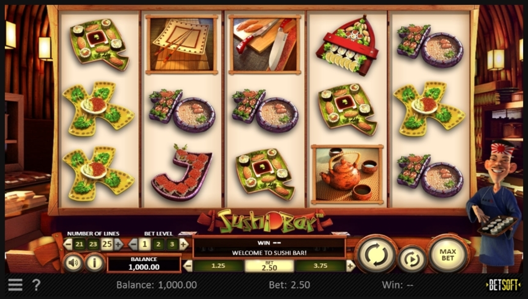 Reels in Sushi Bar Slot Game by Betsoft