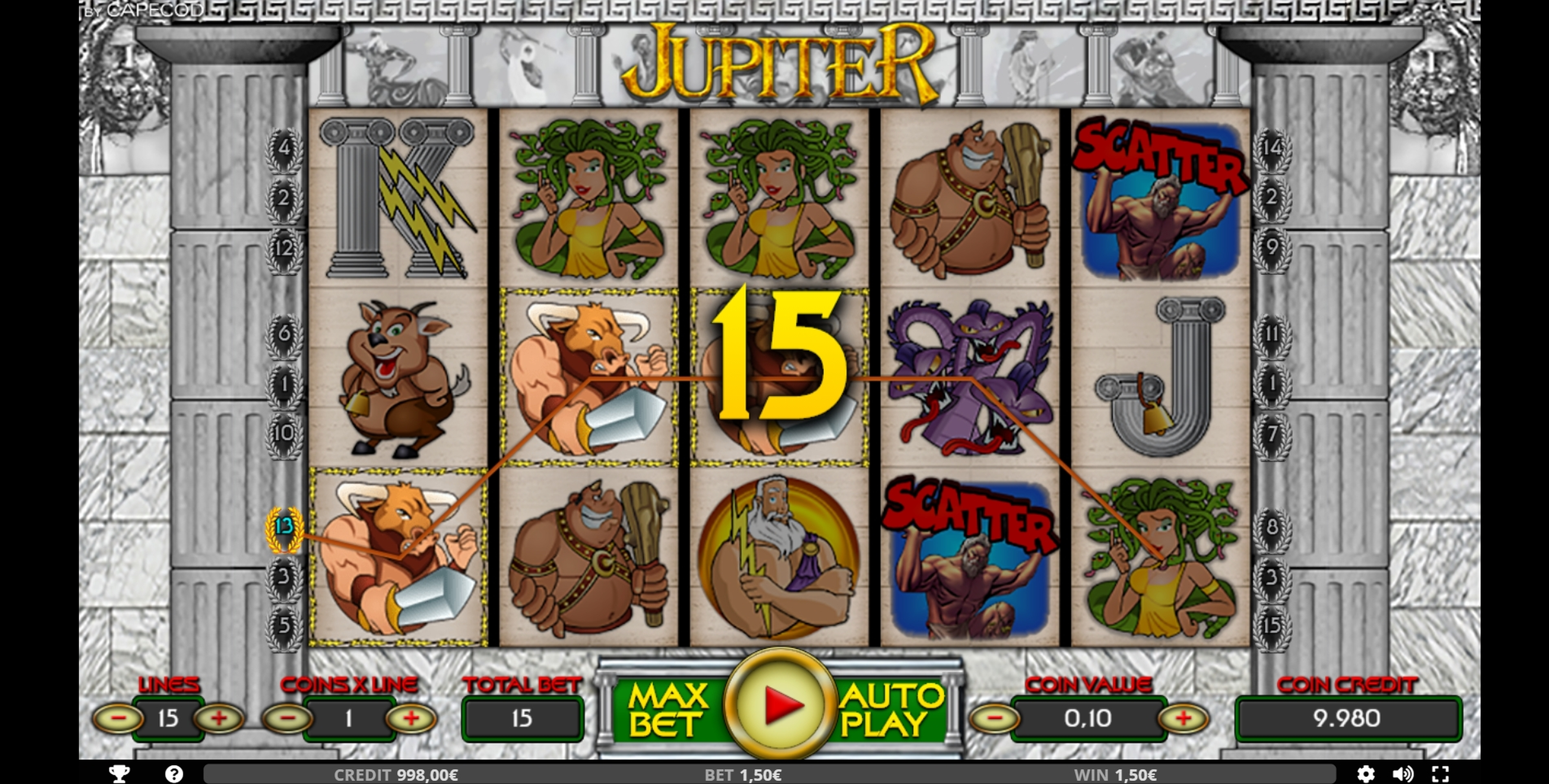 Win Money in Jupiter Free Slot Game by Capecod Gaming