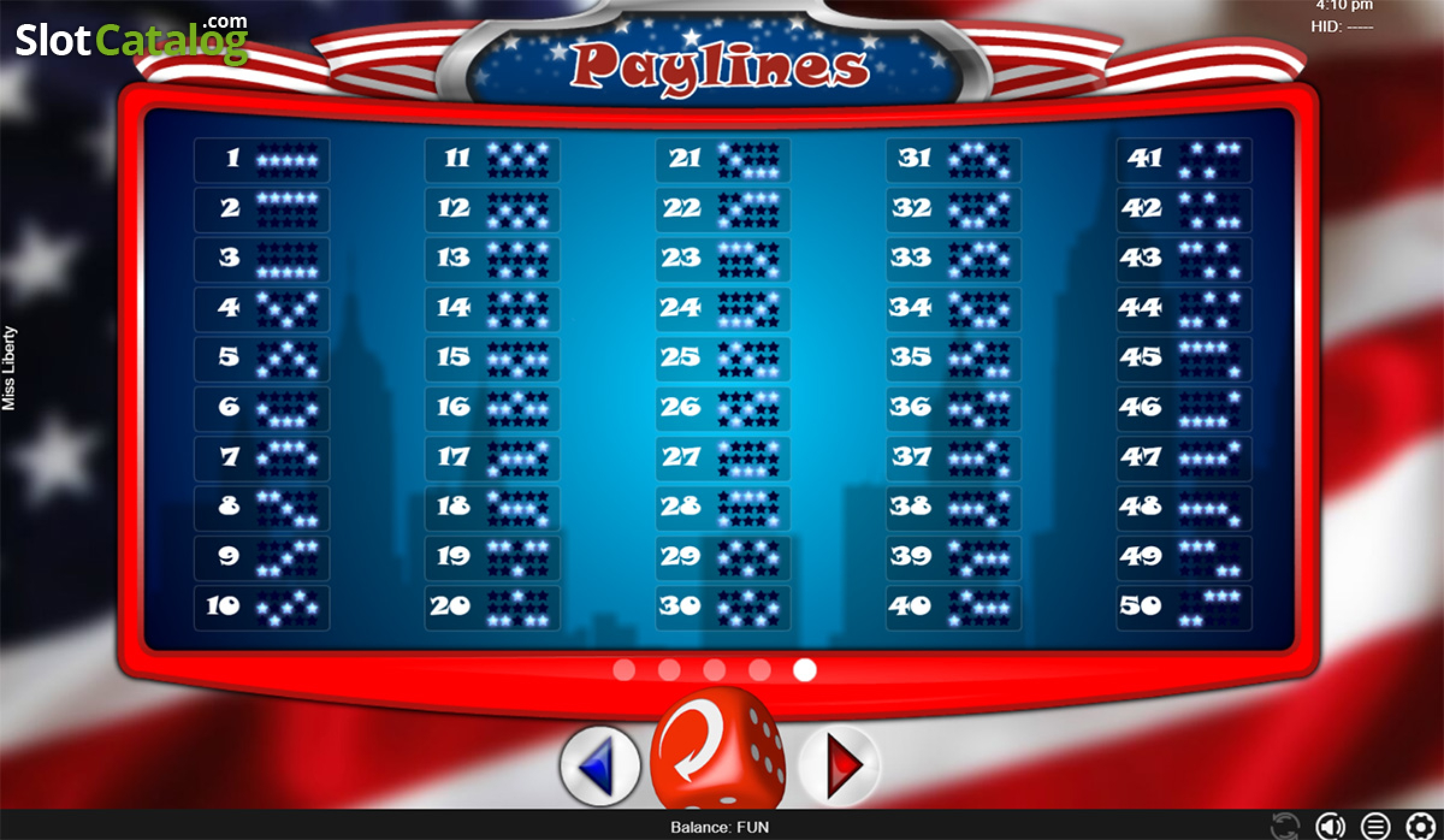 The Miss Liberty Online Slot Demo Game by Espresso Games