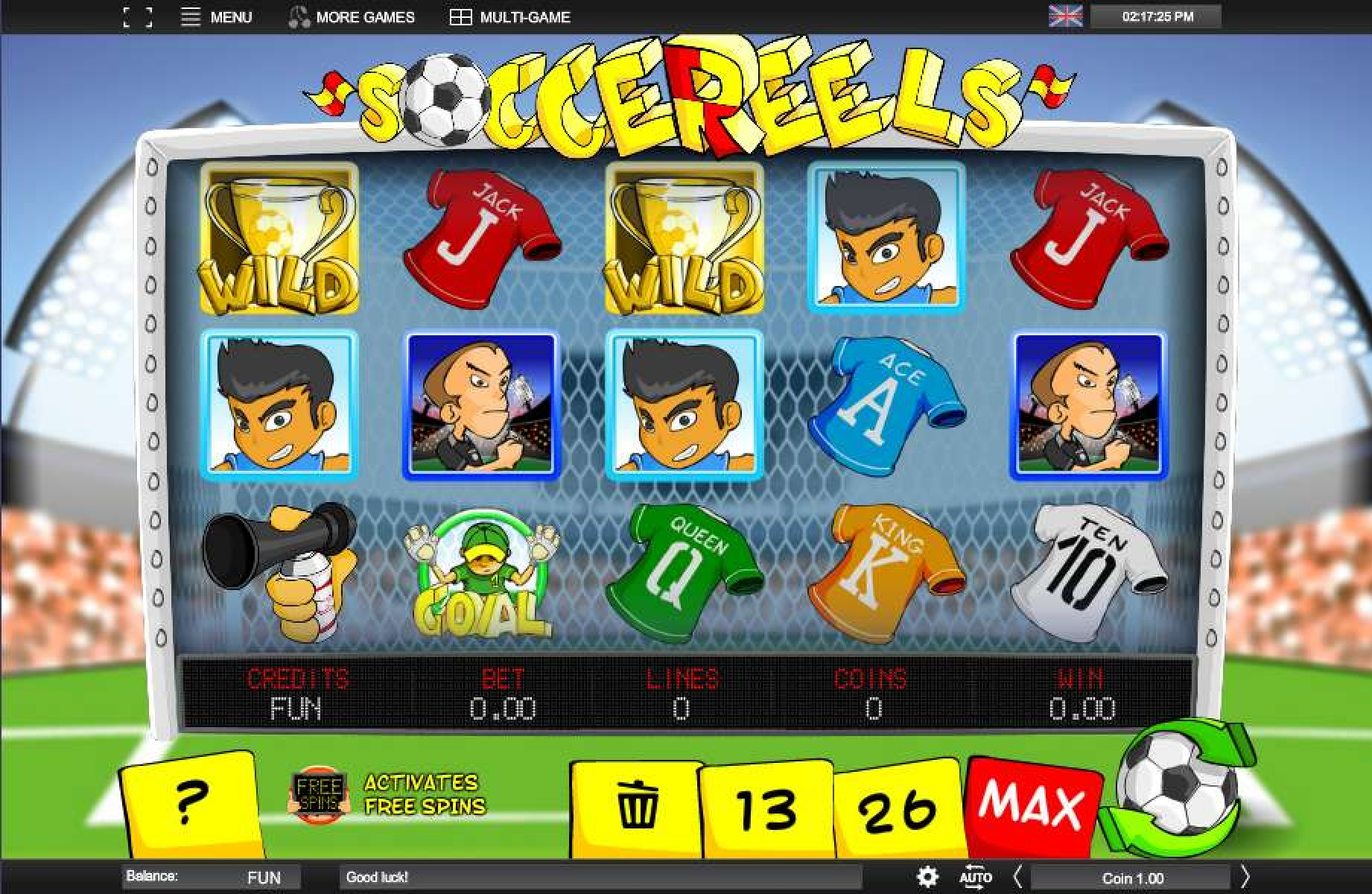 Reels in Soccereels Slot Game by Espresso Games