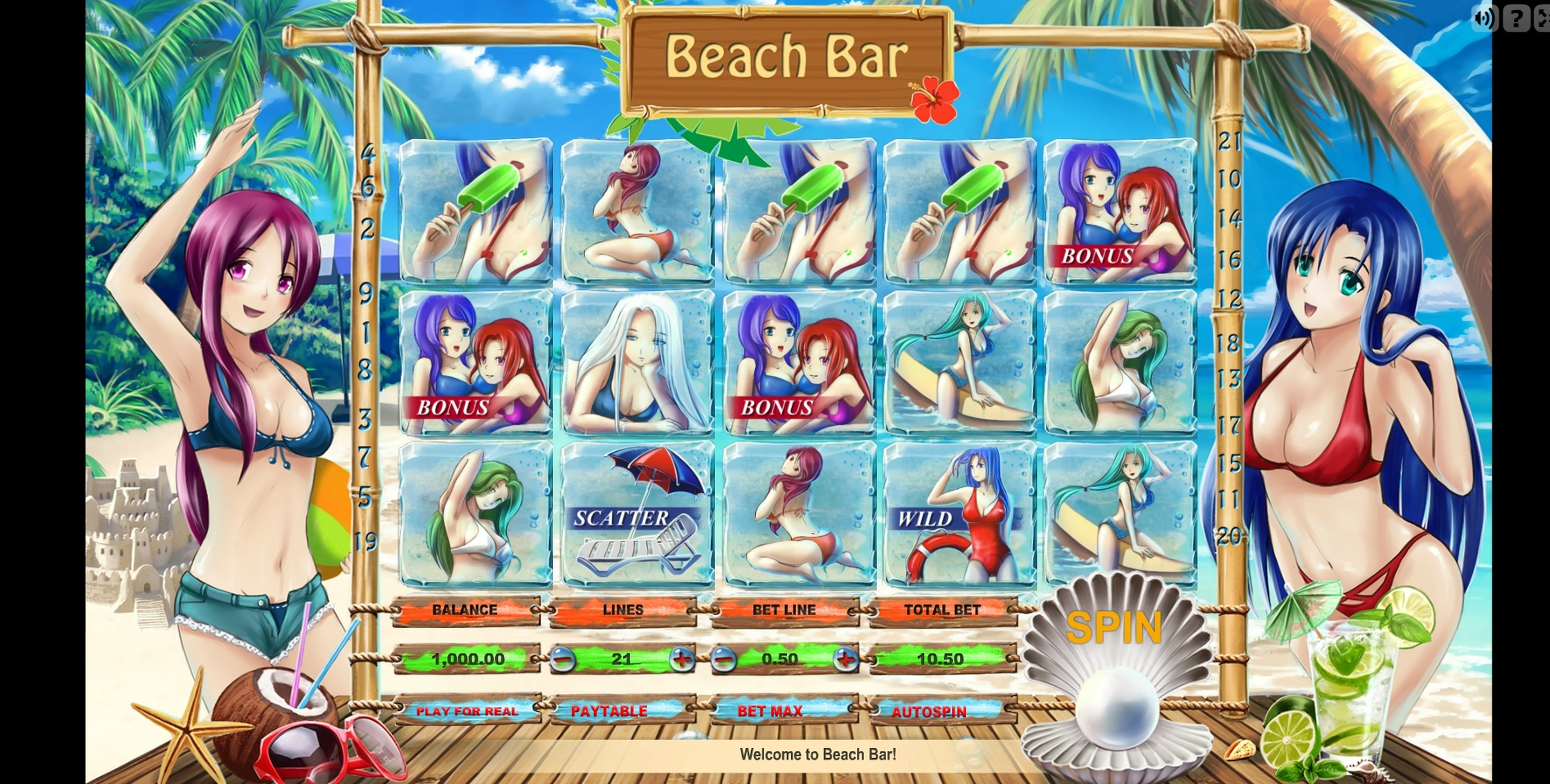 Reels in Beach Bar Slot Game by Fugaso