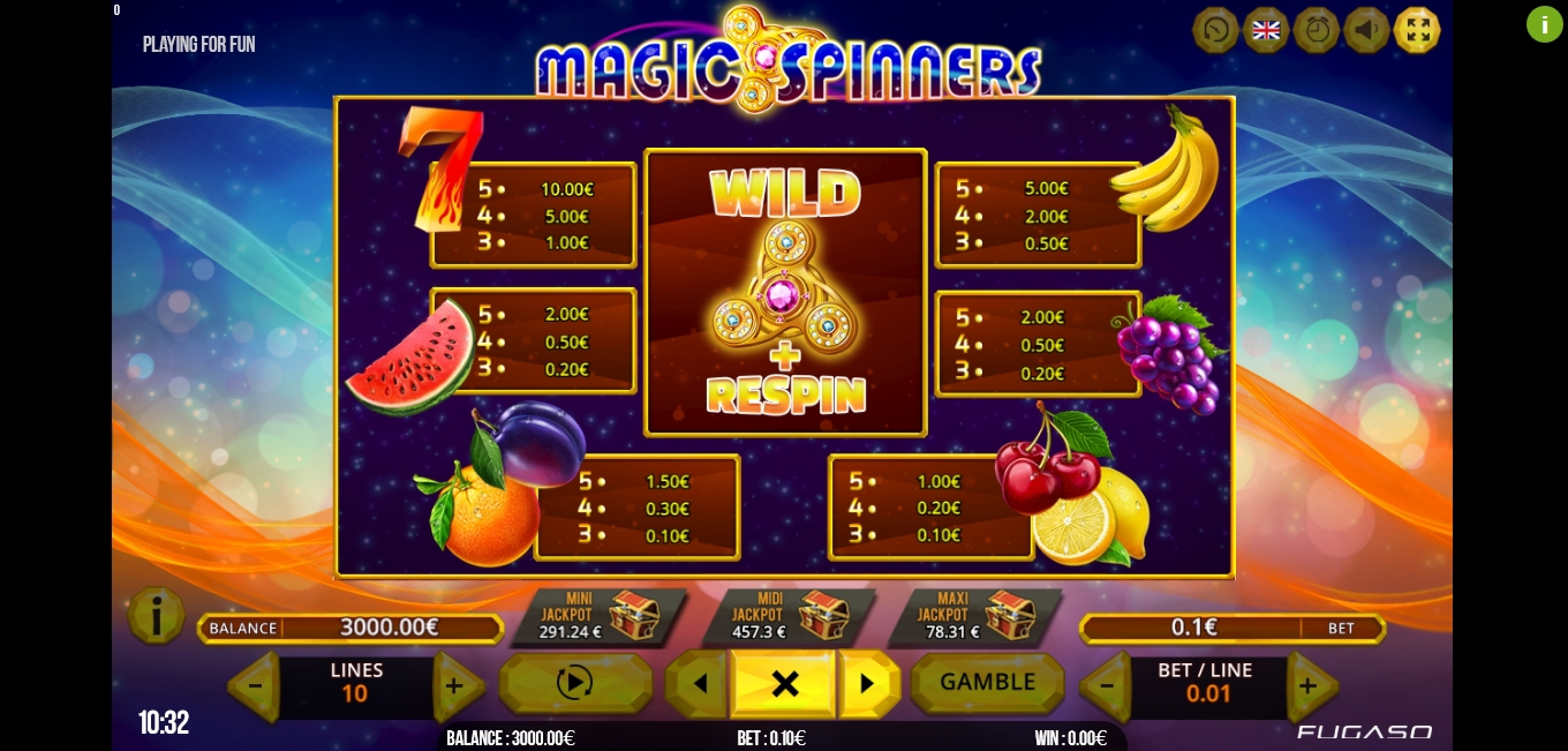 Info of Magic Spinners Slot Game by Fugaso
