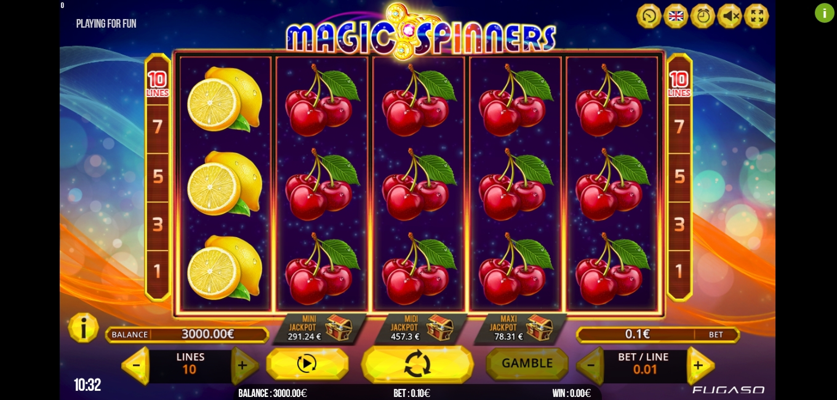 Reels in Magic Spinners Slot Game by Fugaso