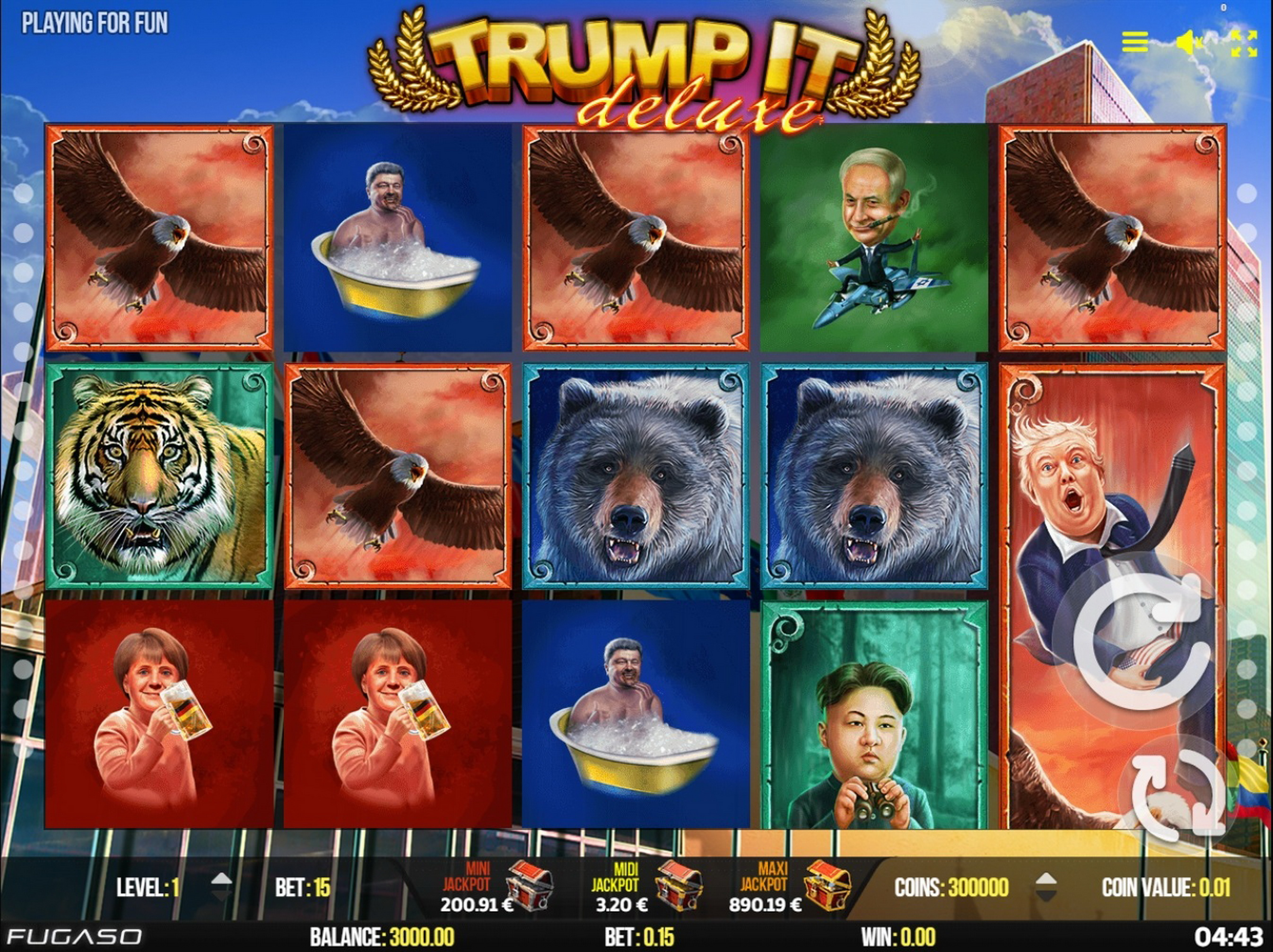 Reels in Trump It Deluxe Slot Game by Fugaso