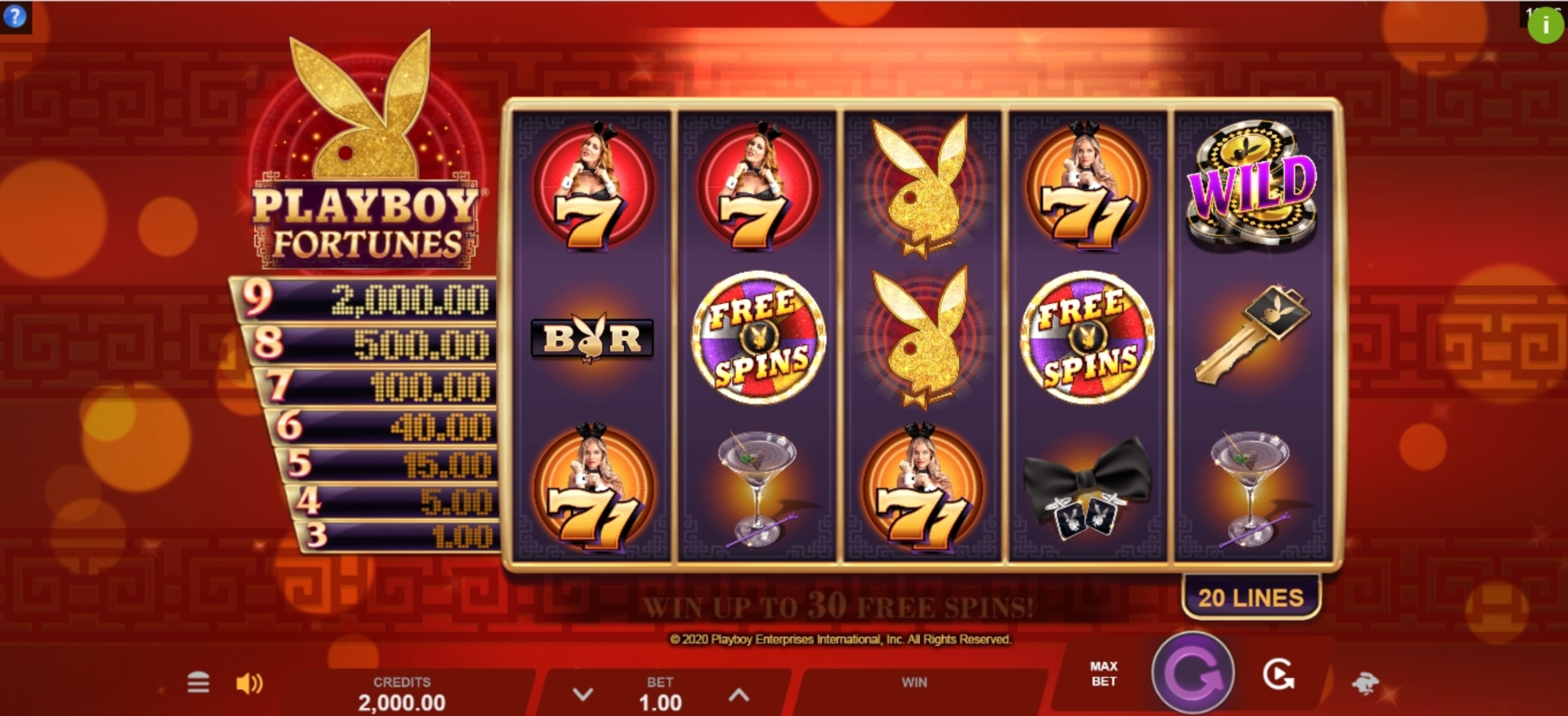 Reels in Playboy Fortunes Slot Game by Gameburger Studios