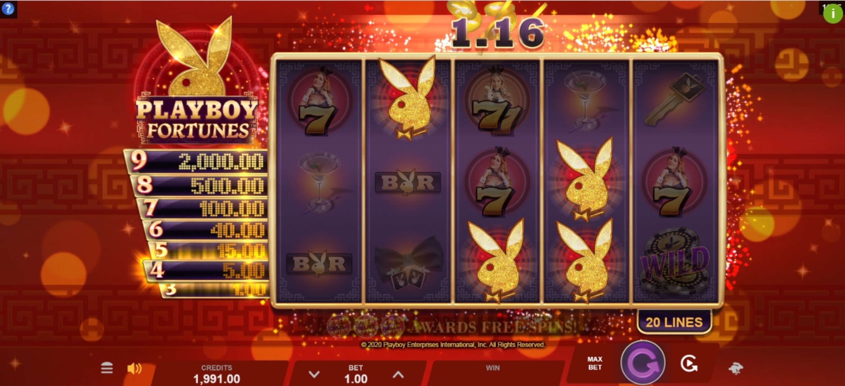 Win Money in Playboy Fortunes Free Slot Game by Gameburger Studios