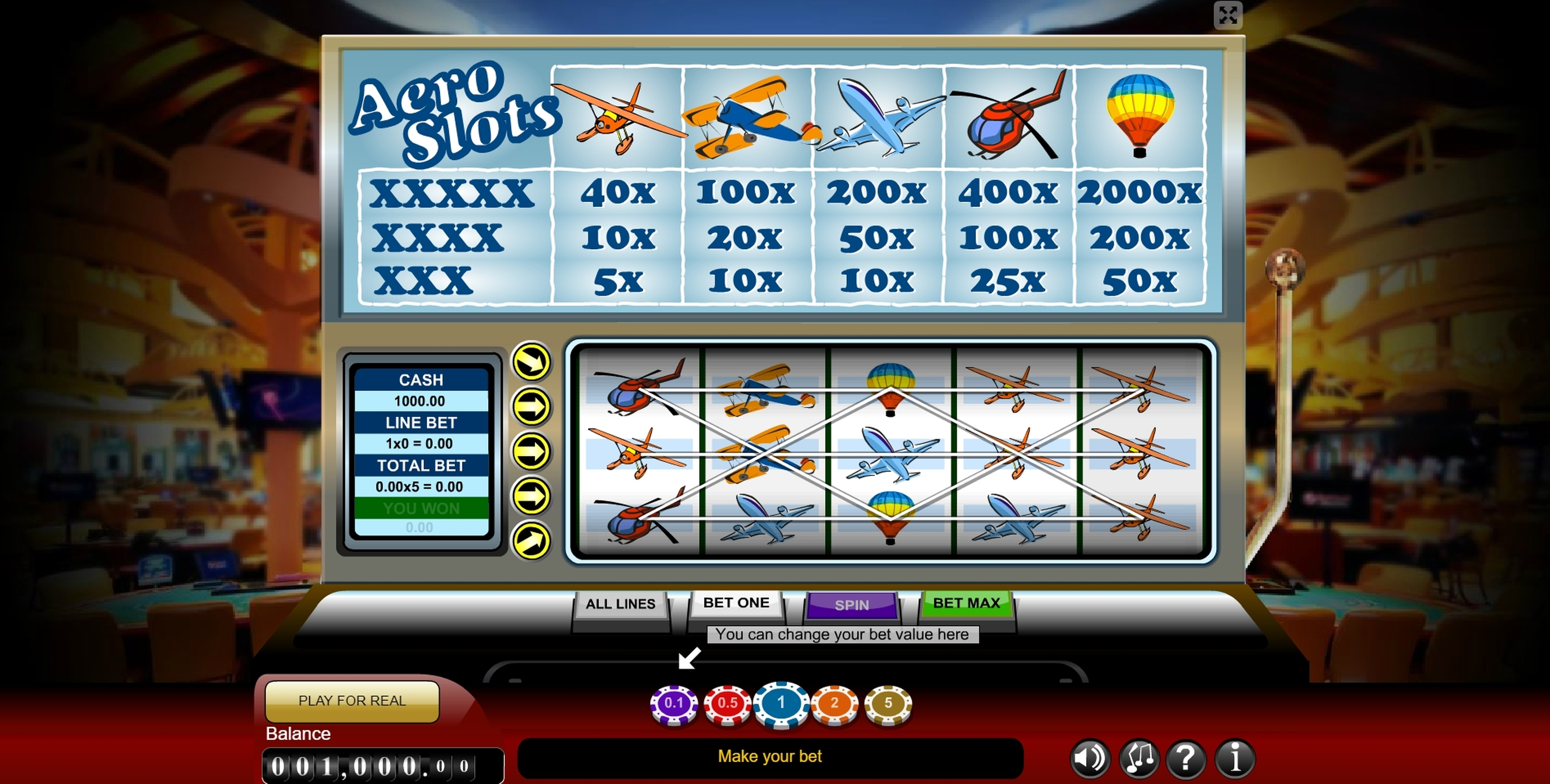 Reels in Aero Slots Slot Game by Gamescale Software