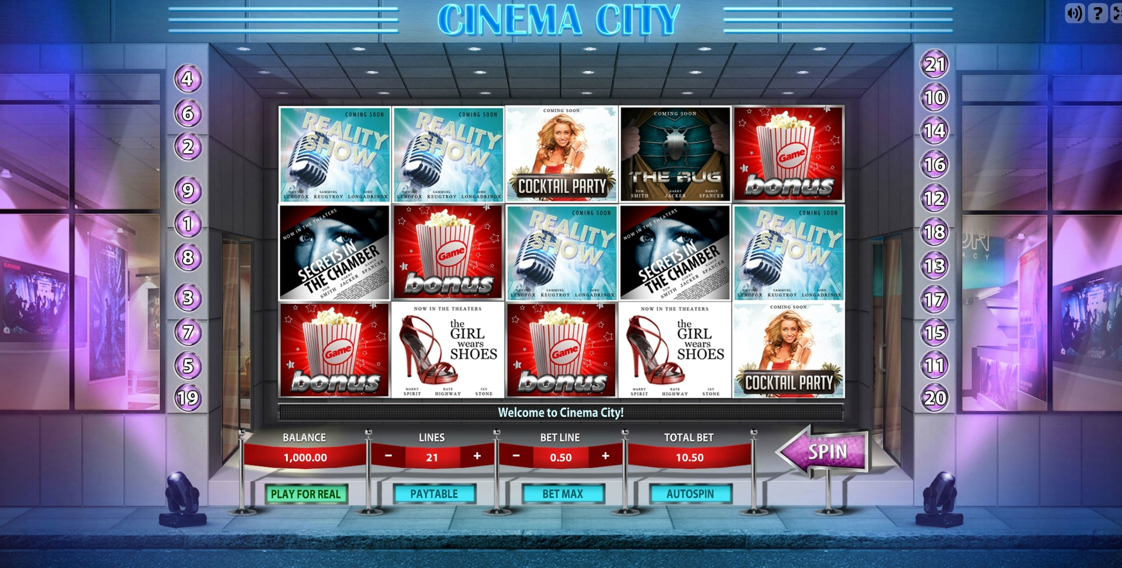 Reels in Cinema City Slot Game by Gamescale Software