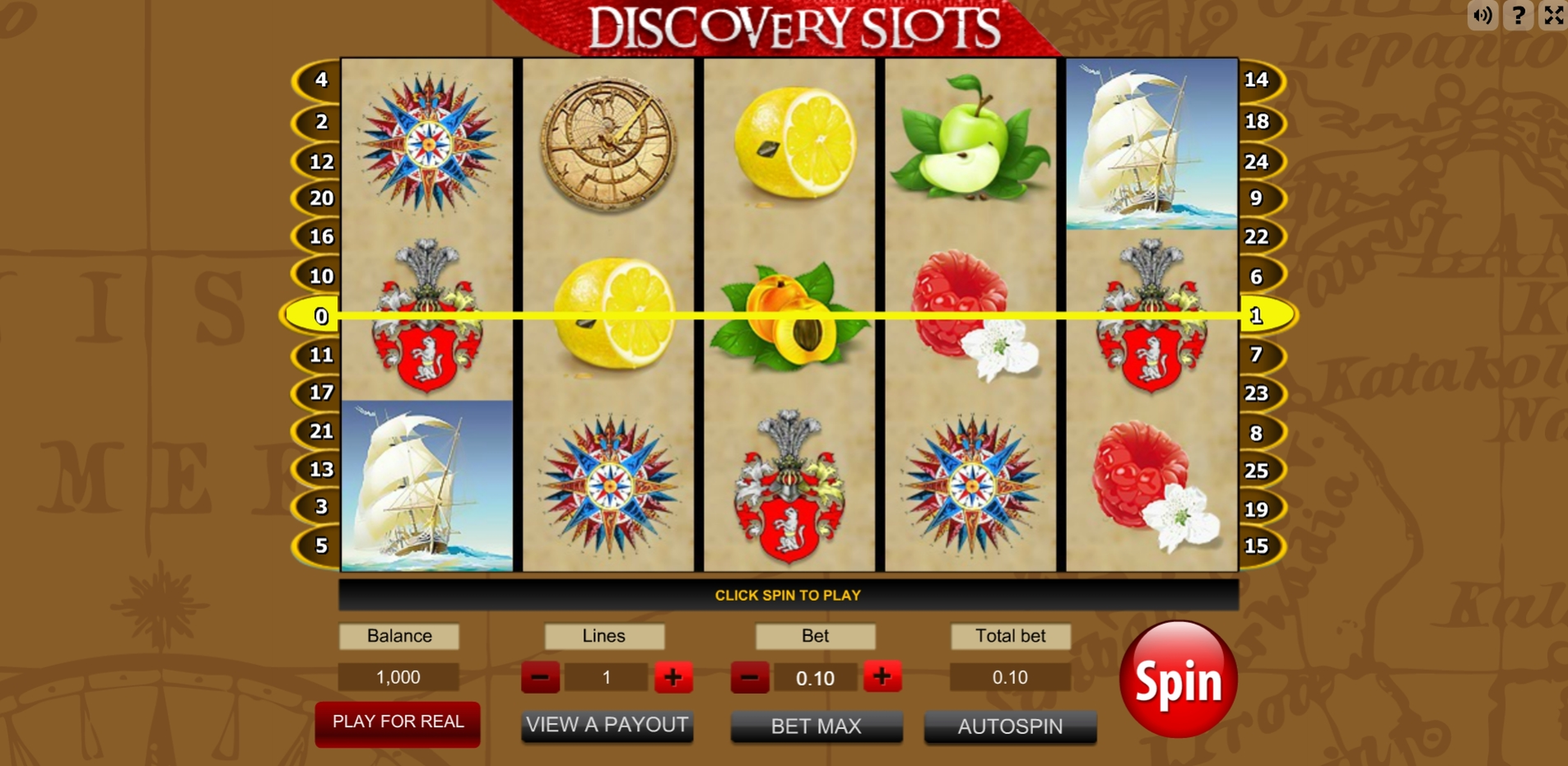 Reels in Discovery Slots Slot Game by Gamescale Software