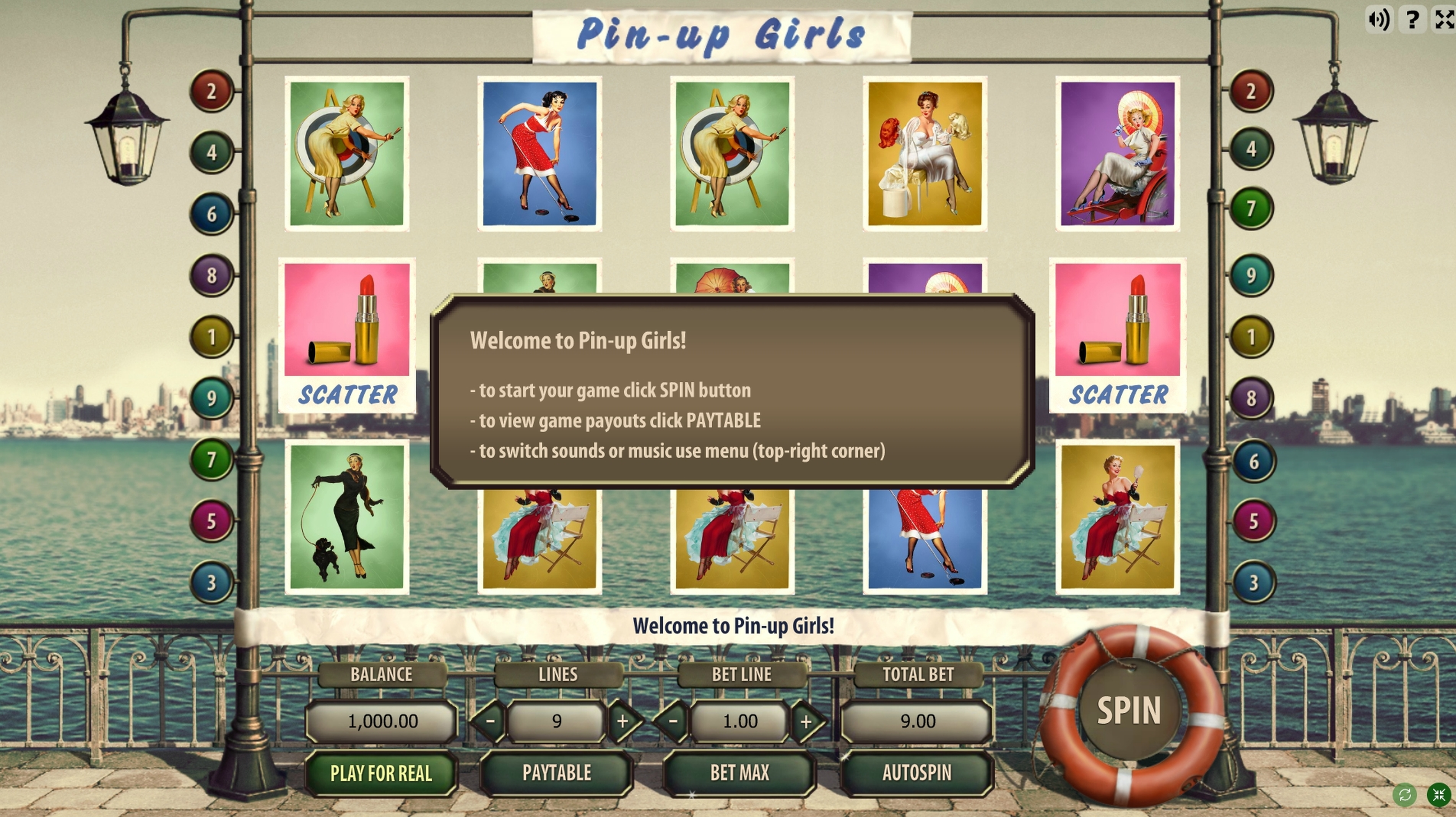 Reels in Pin Up Girls (GameScale) Slot Game by Gamescale Software