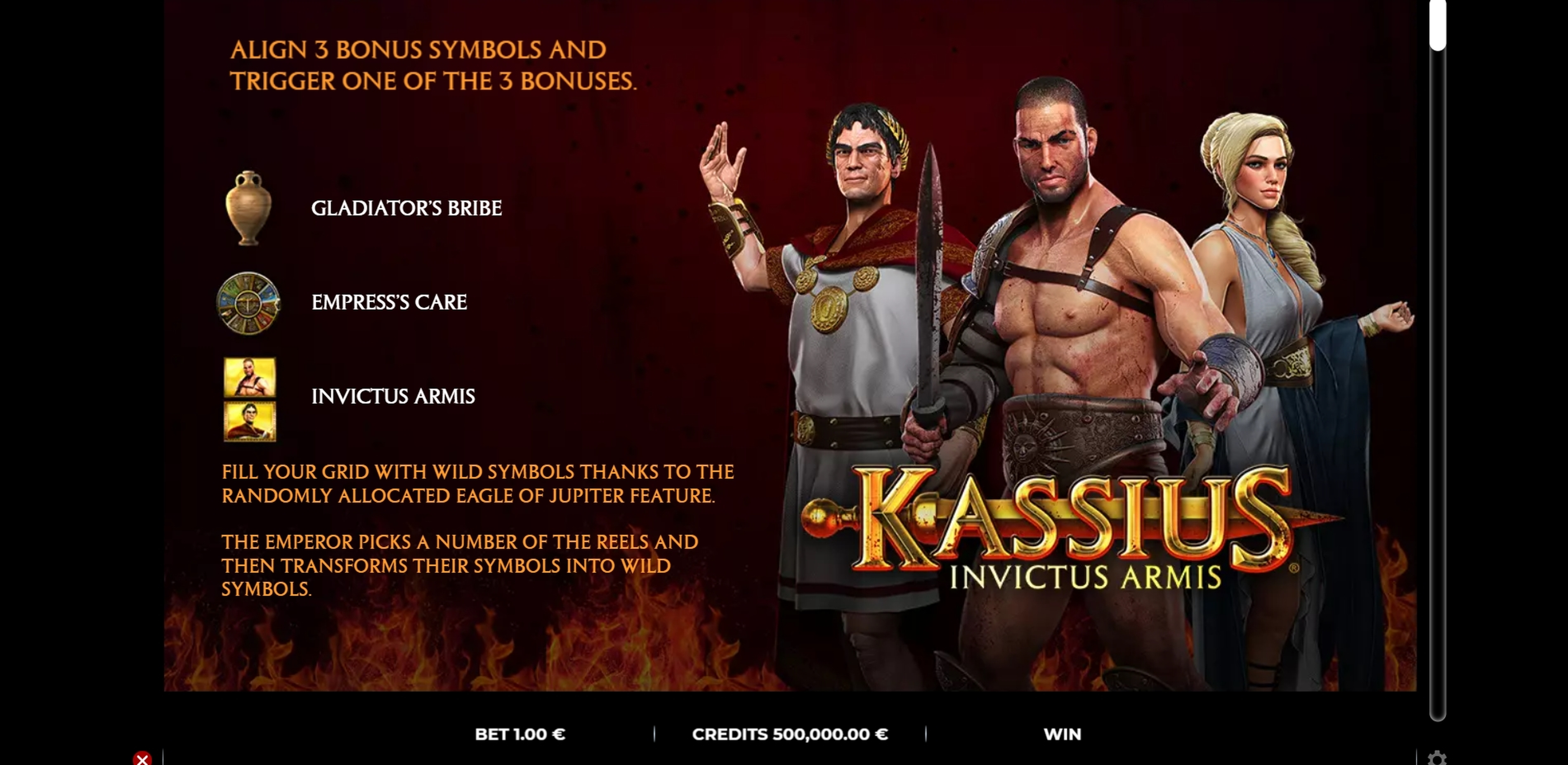 Info of Kassius Invictus Armis Slot Game by GAMING1