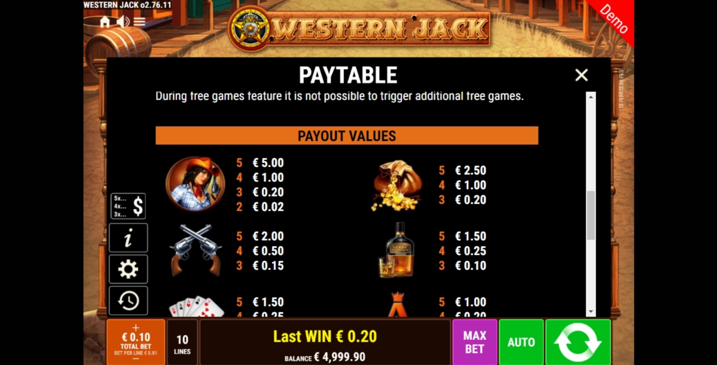 Info of Western Jack Slot Game by Gamomat