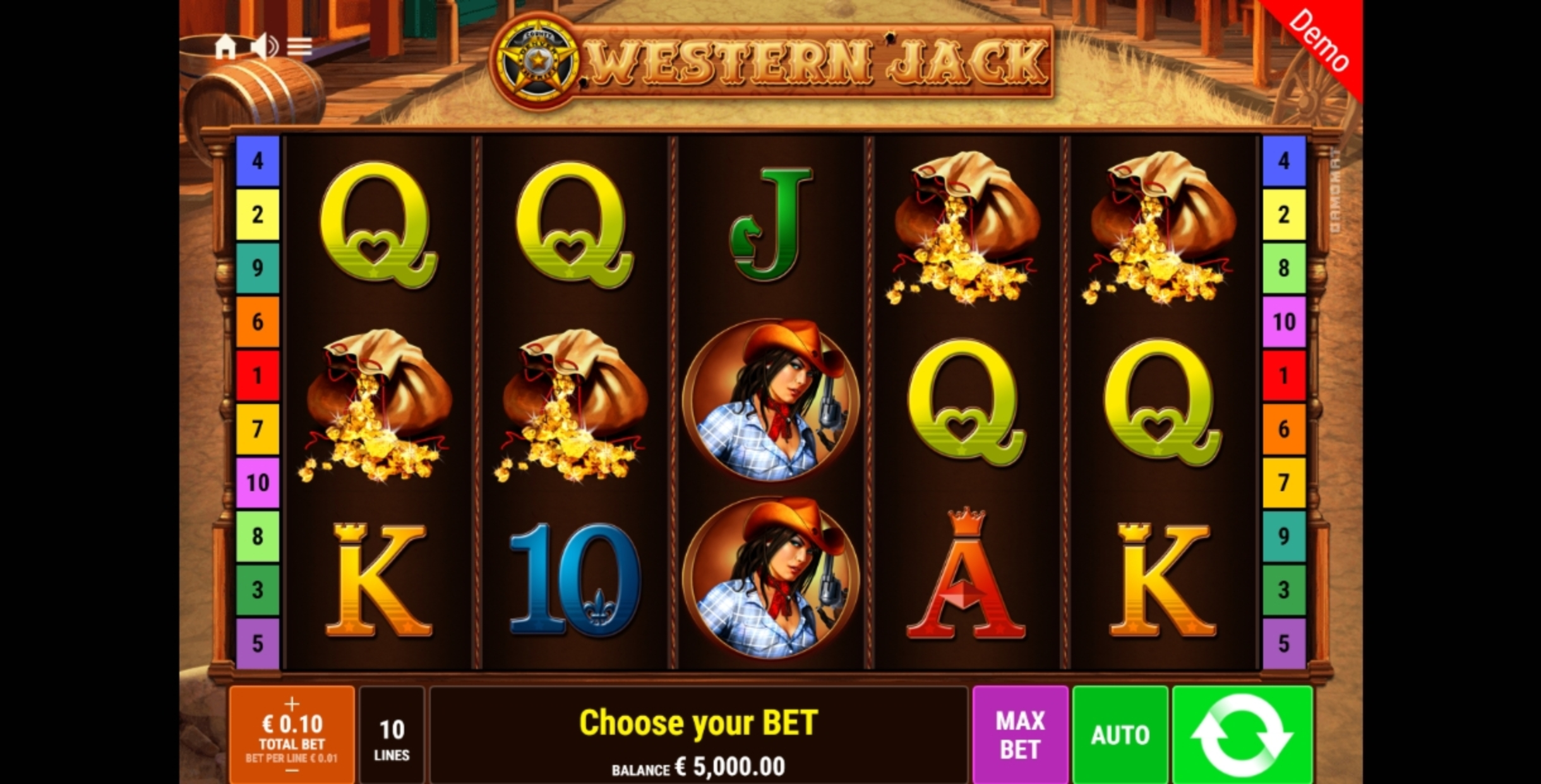 Reels in Western Jack Slot Game by Gamomat