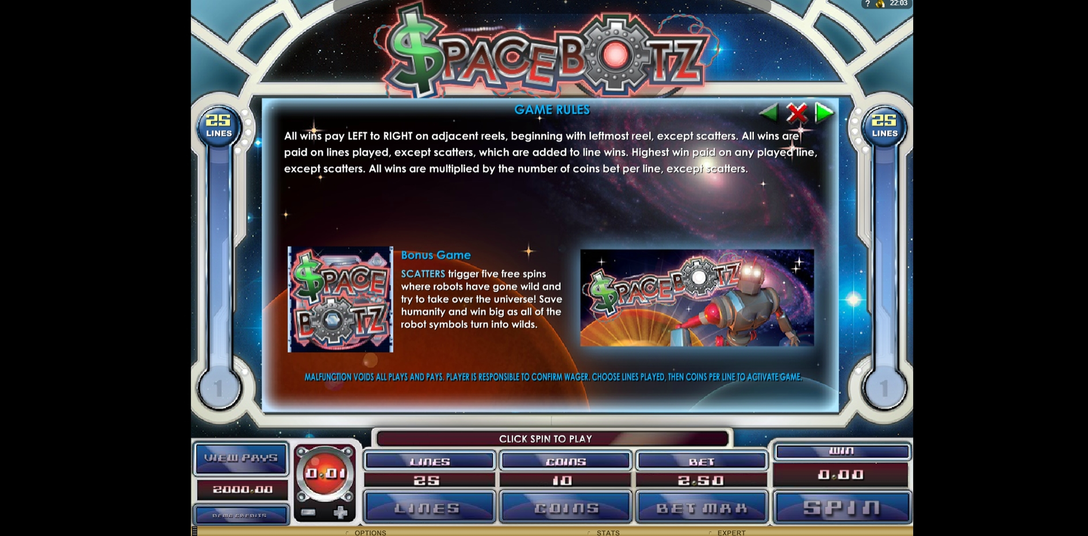 Info of Space Botz Slot Game by Genesis