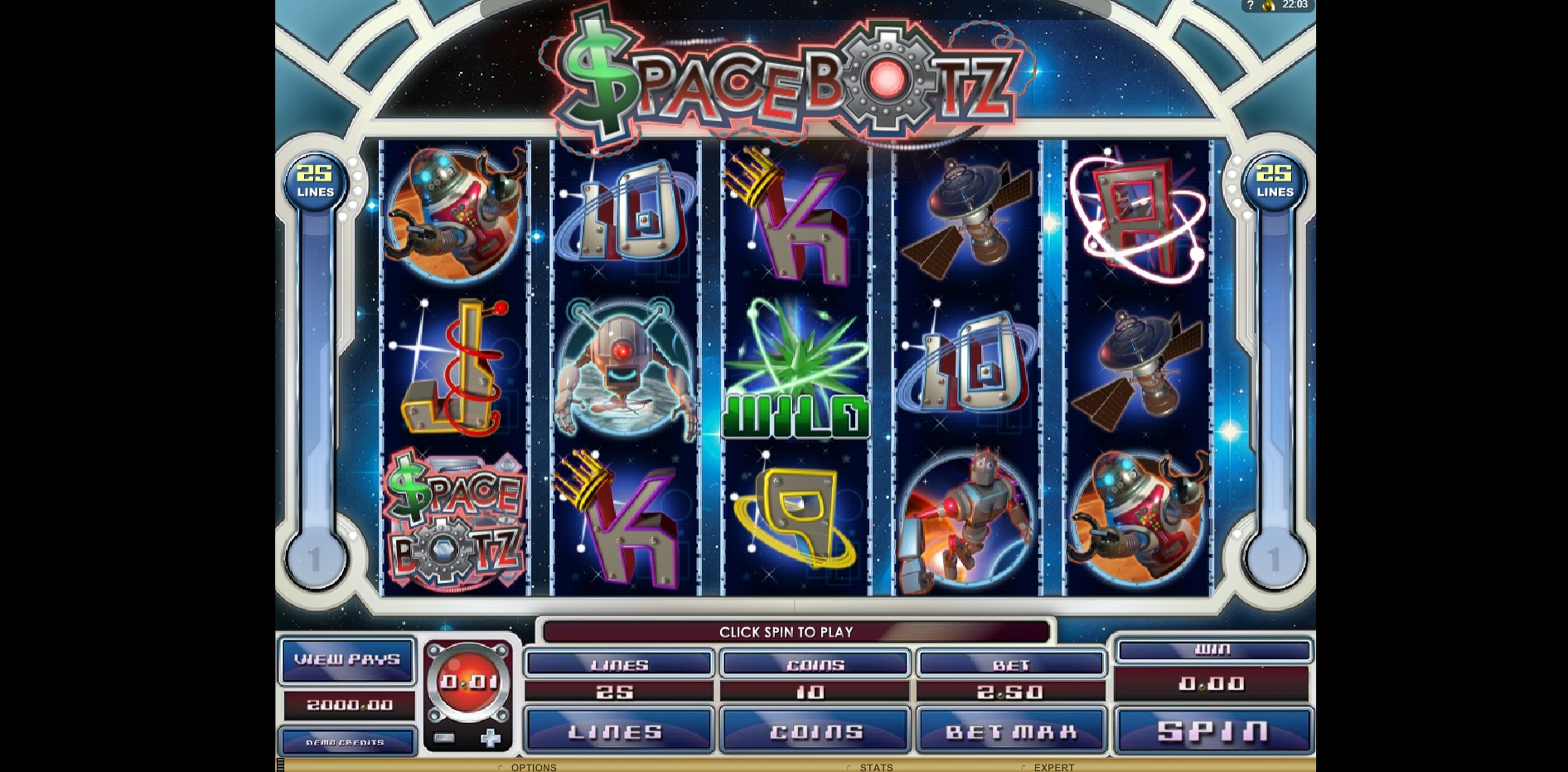Reels in Space Botz Slot Game by Genesis
