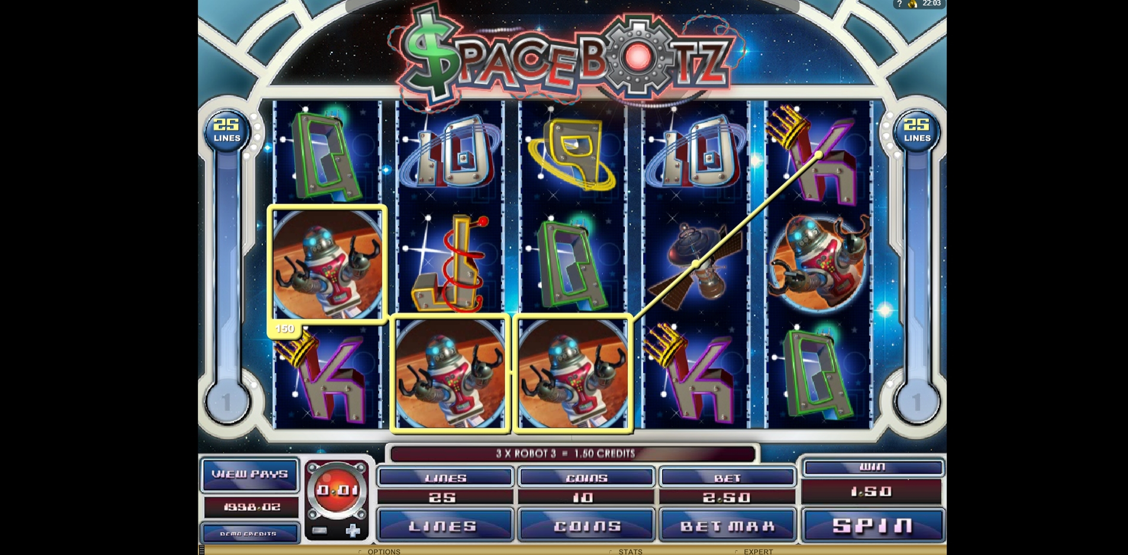 Win Money in Space Botz Free Slot Game by Genesis