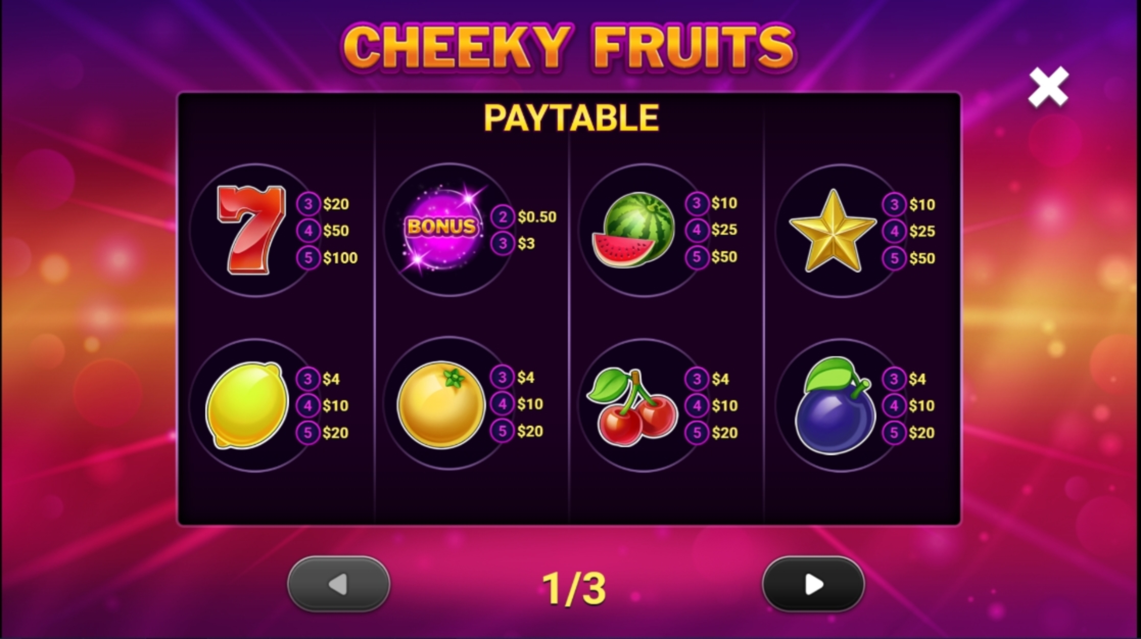Info of Cheeky Fruits Slot Game by Gluck Games