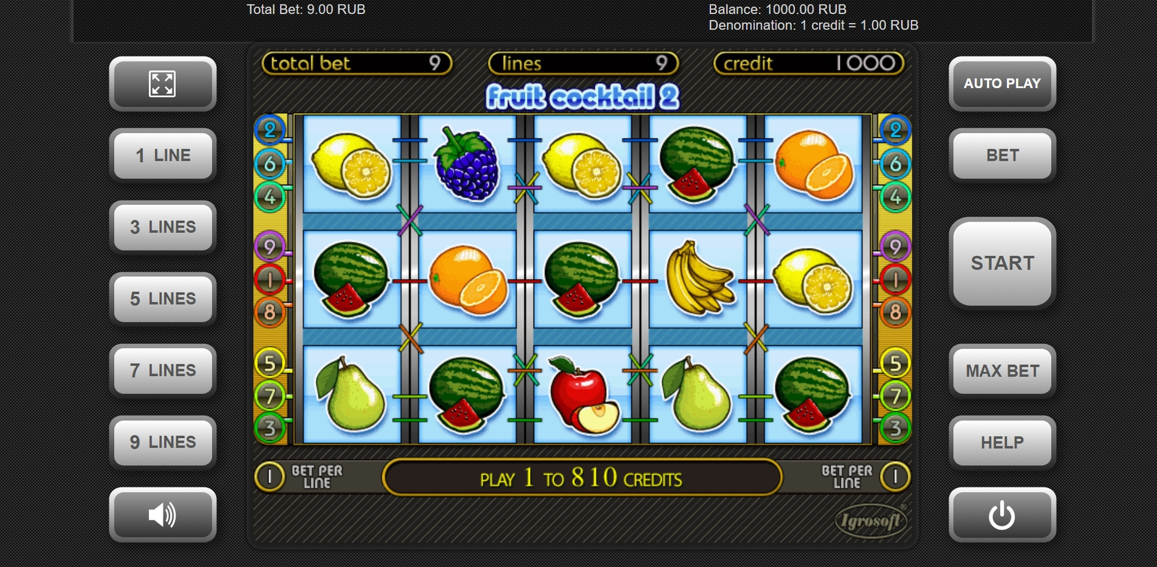 Reels in Fruit Cocktail 2 Slot Game by Igrosoft