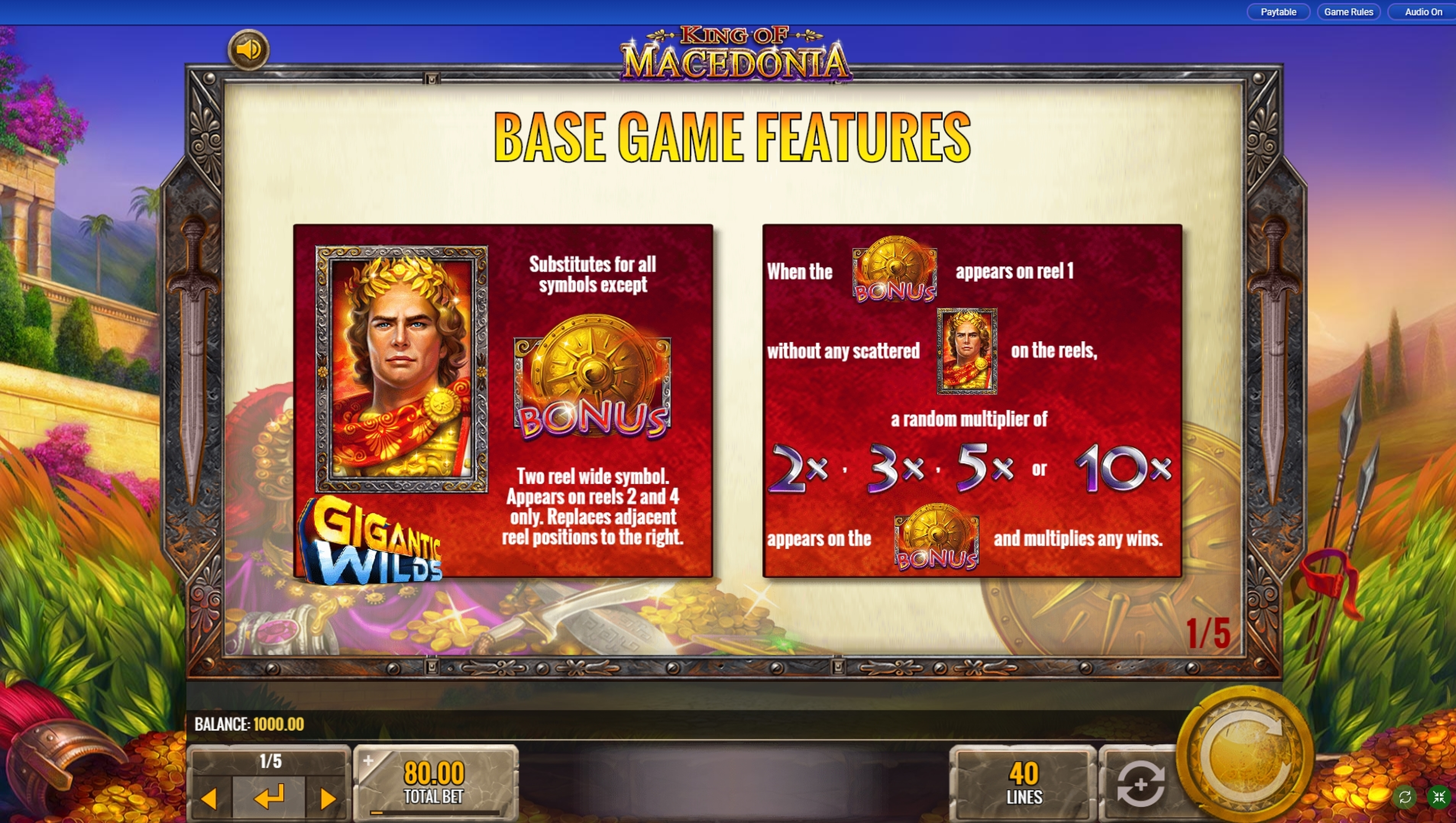 Info of King of Macedonia Slot Game by IGT
