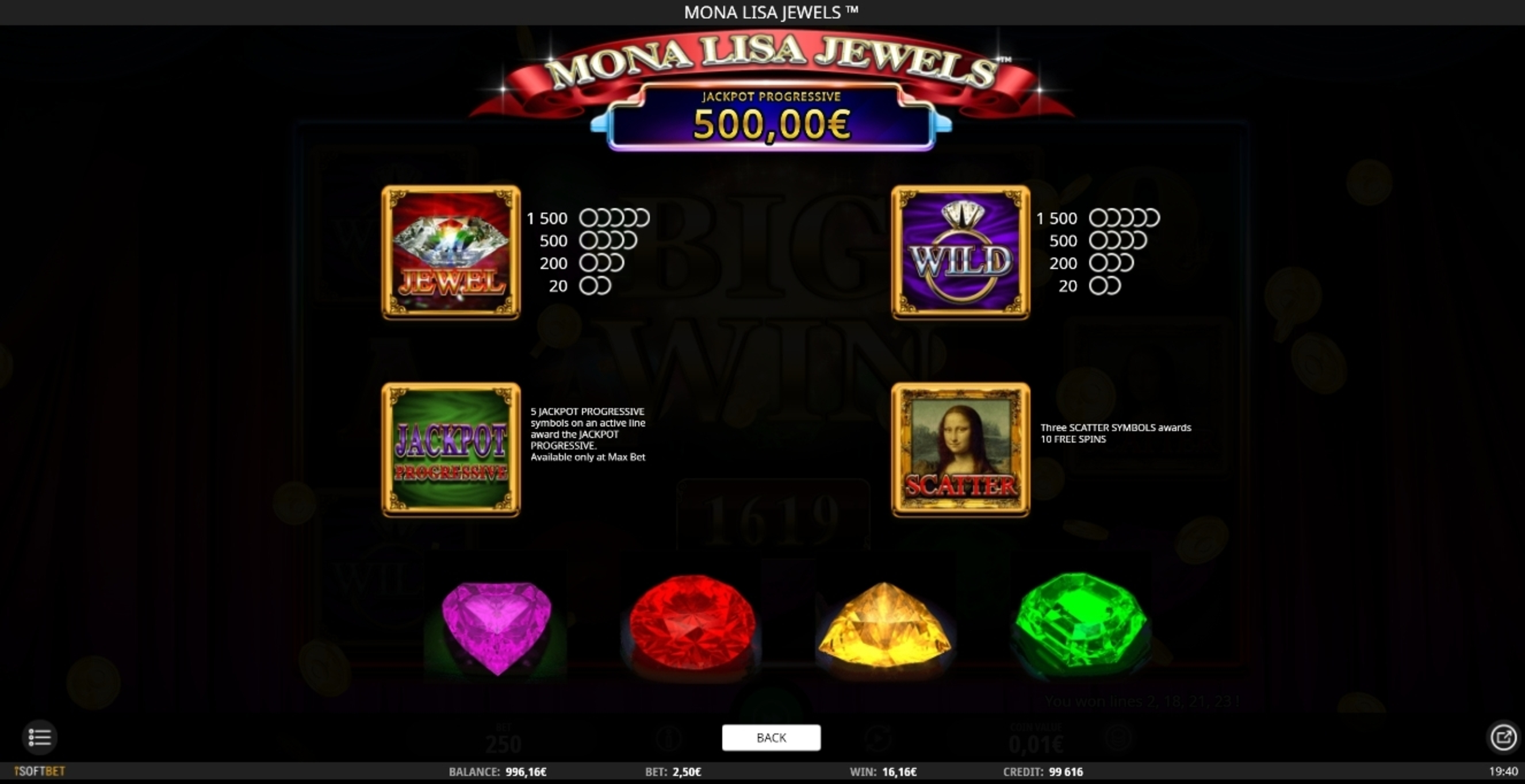 Info of Mona Lisa Jewels Slot Game by iSoftBet