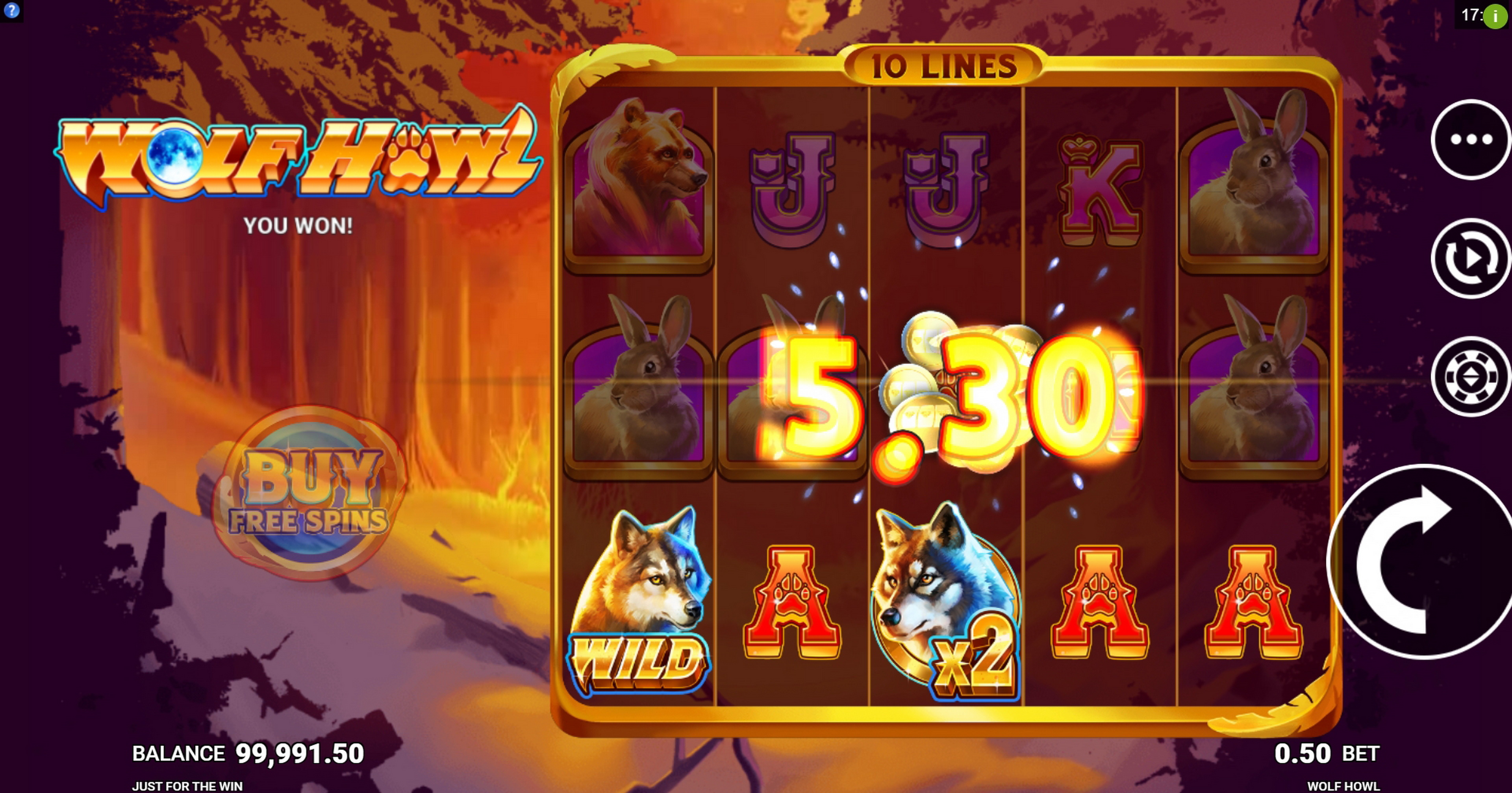 Win Money in Wolf Howl Free Slot Game by Just For The Win