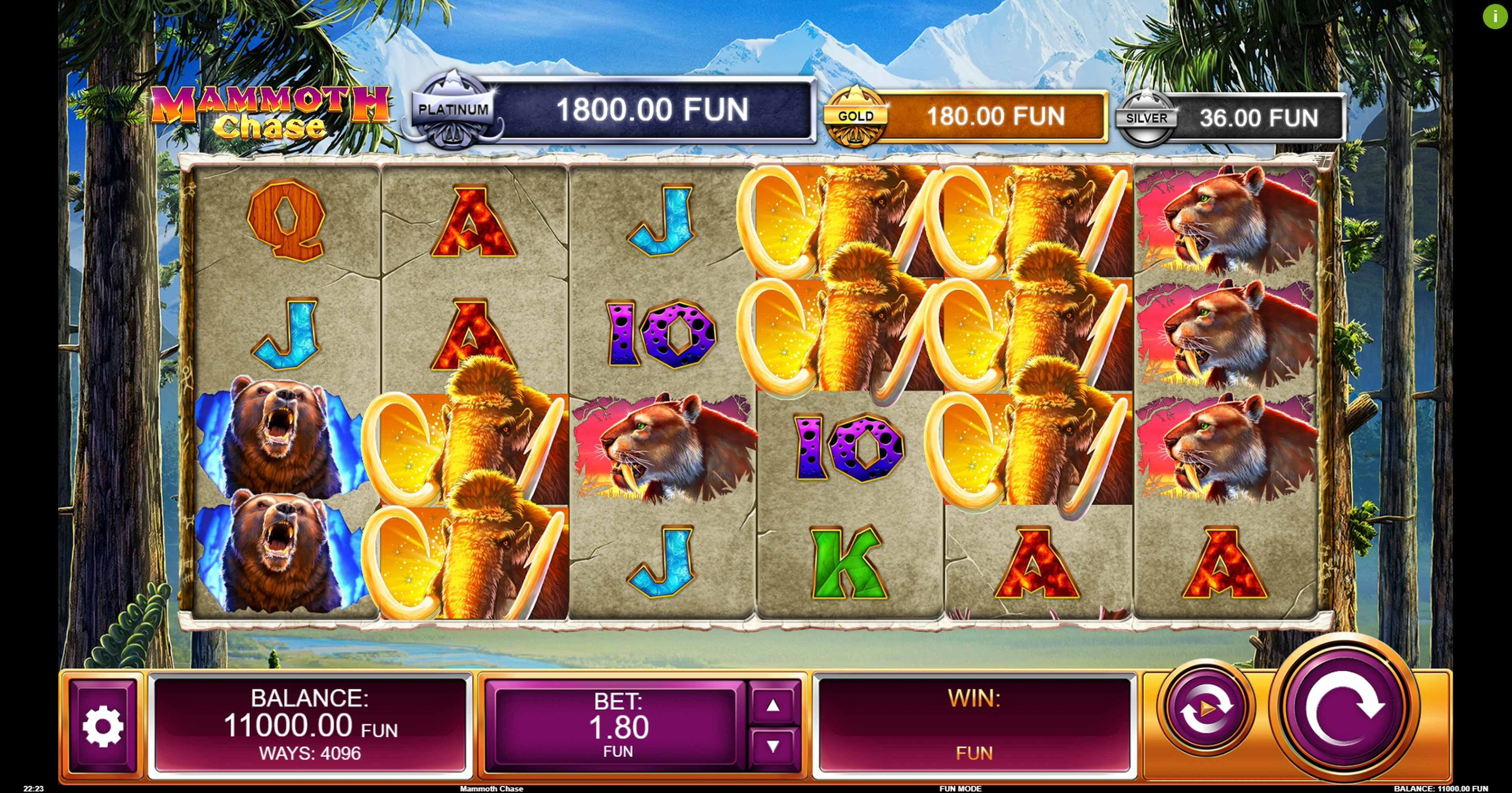 Reels in Mammoth Chase Slot Game by Kalamba Games