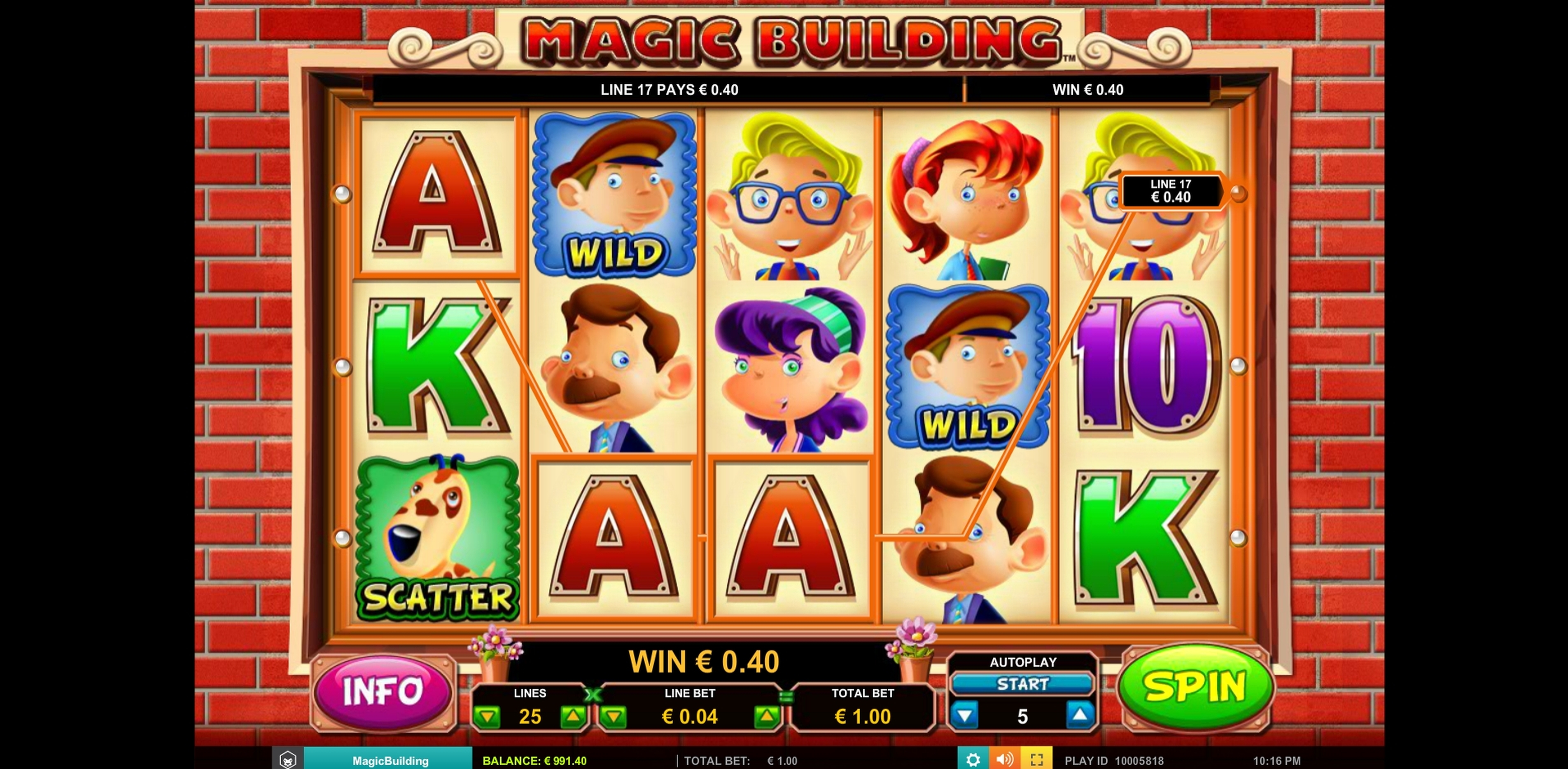 Win Money in Magic Building Free Slot Game by Leander Games