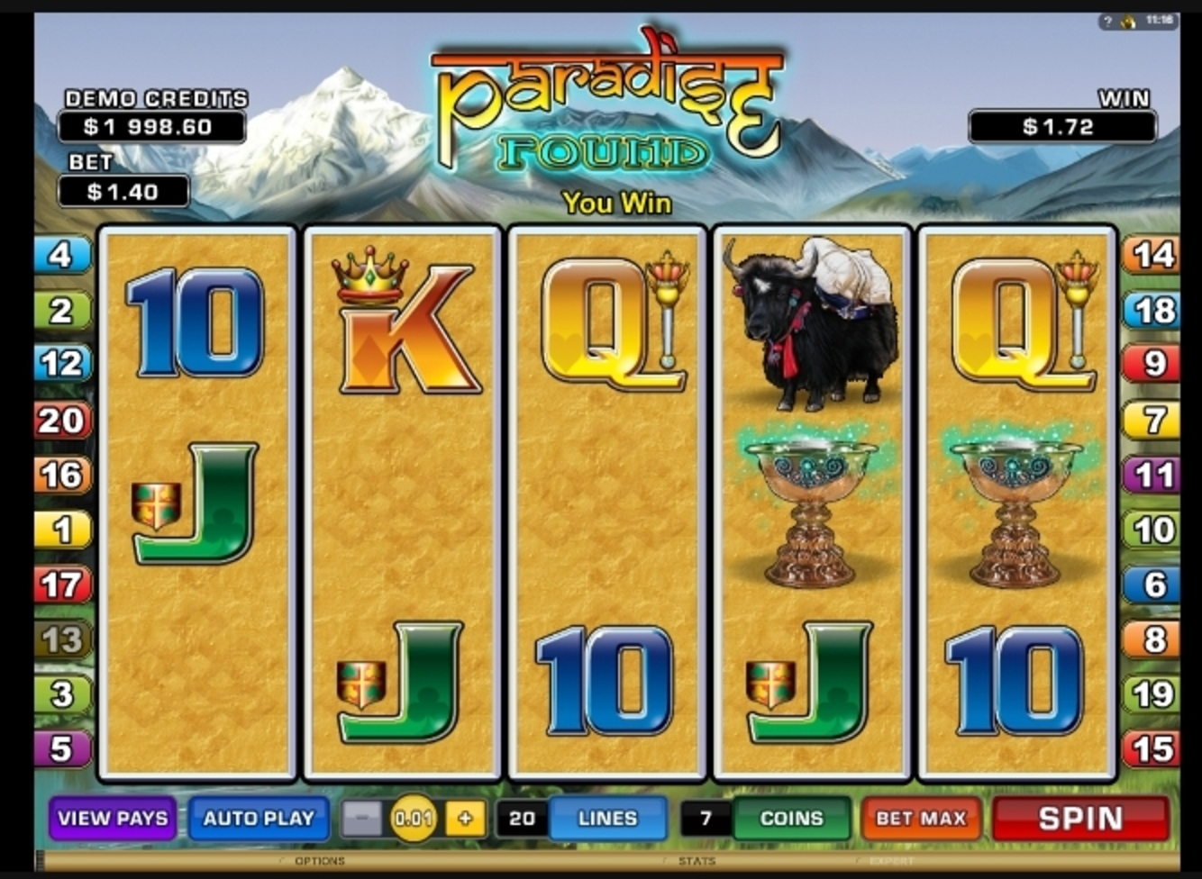 Win Money in Paradise Found Free Slot Game by Microgaming