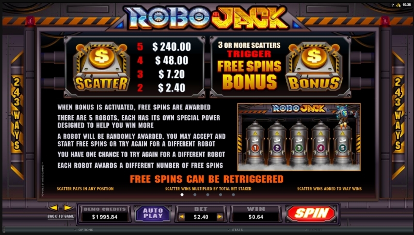 Info of Robo Jack Slot Game by Microgaming