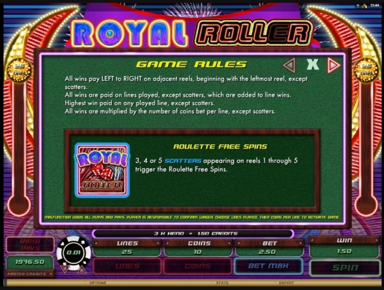 Info of Royal Roller Slot Game by Microgaming